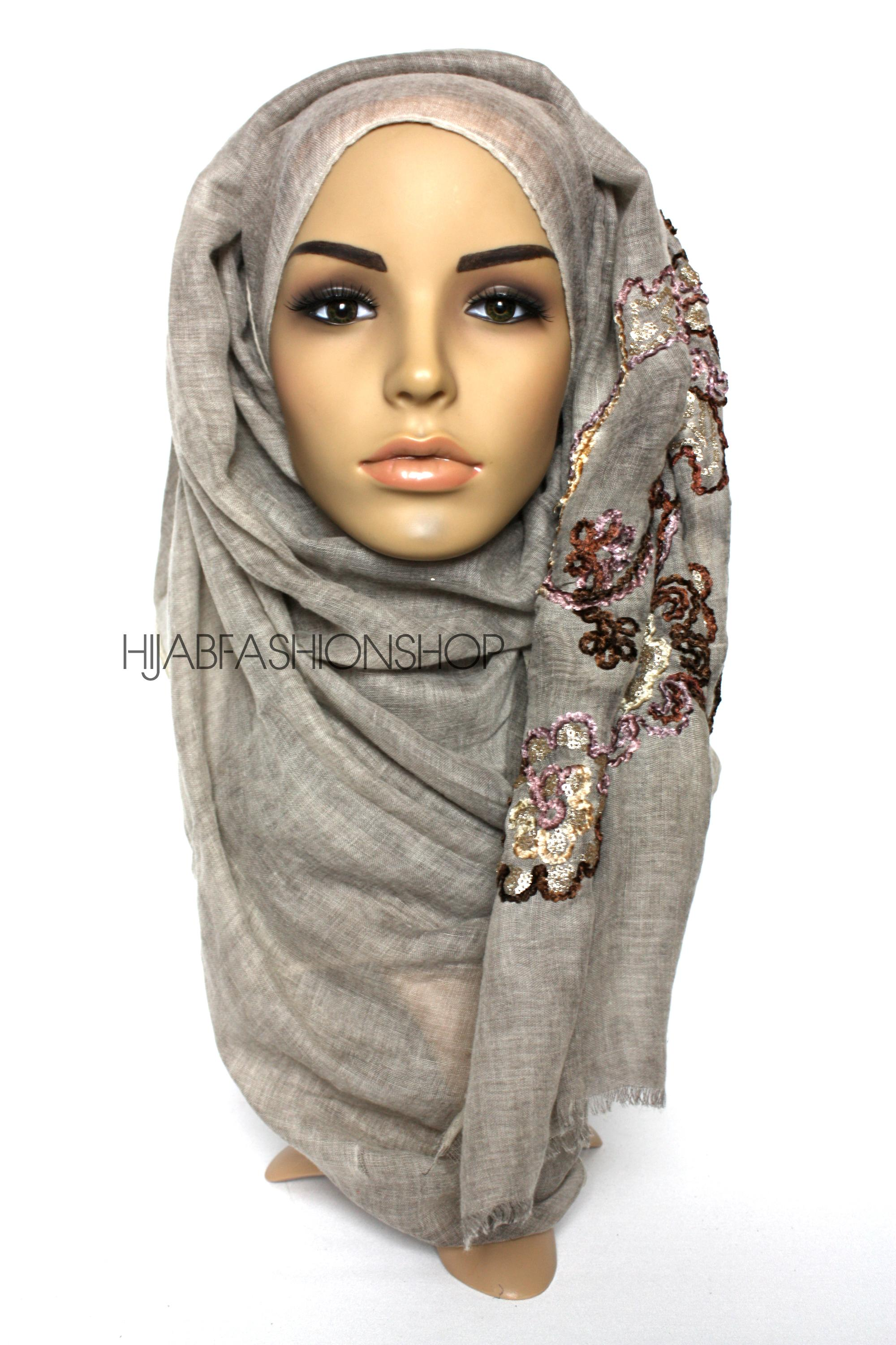 taupe linen look hijab with floral velvet embroidery and sequins
