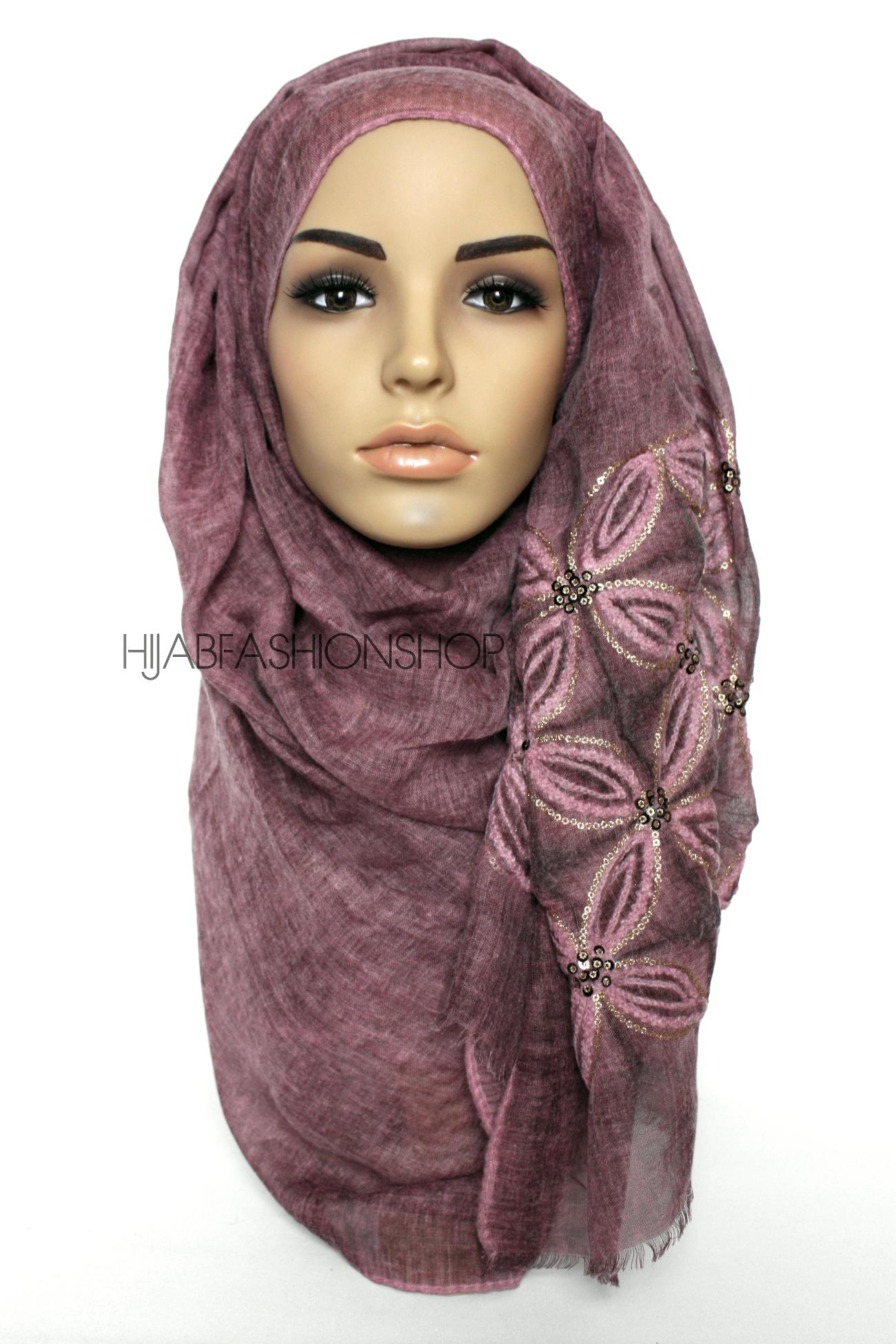 maroon linen look hijab with lilies embroidery and sequins