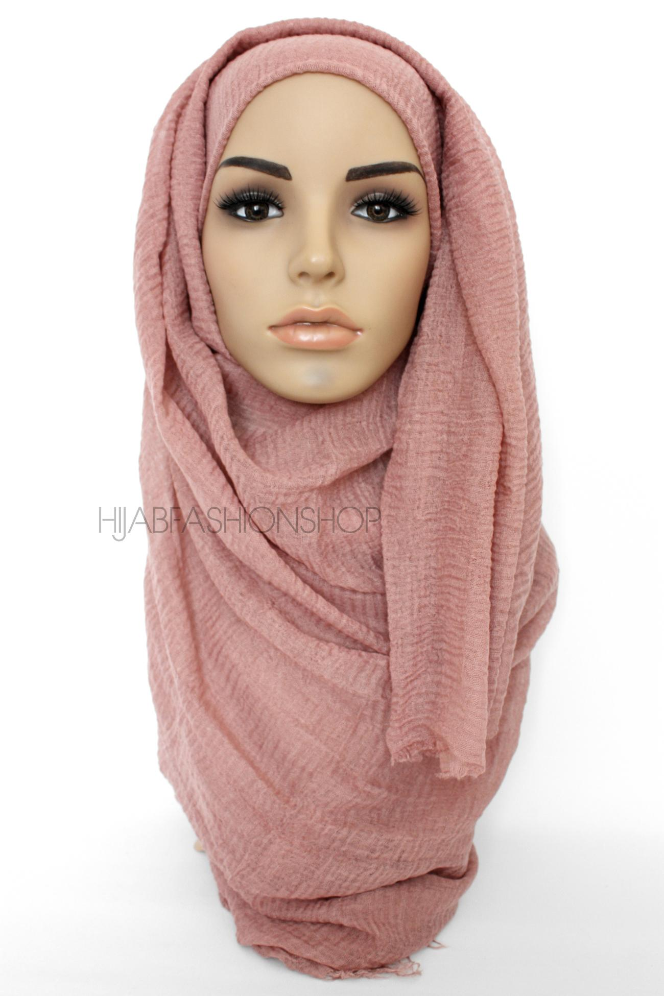 dark beige with pink hue crimp crinkle hijab