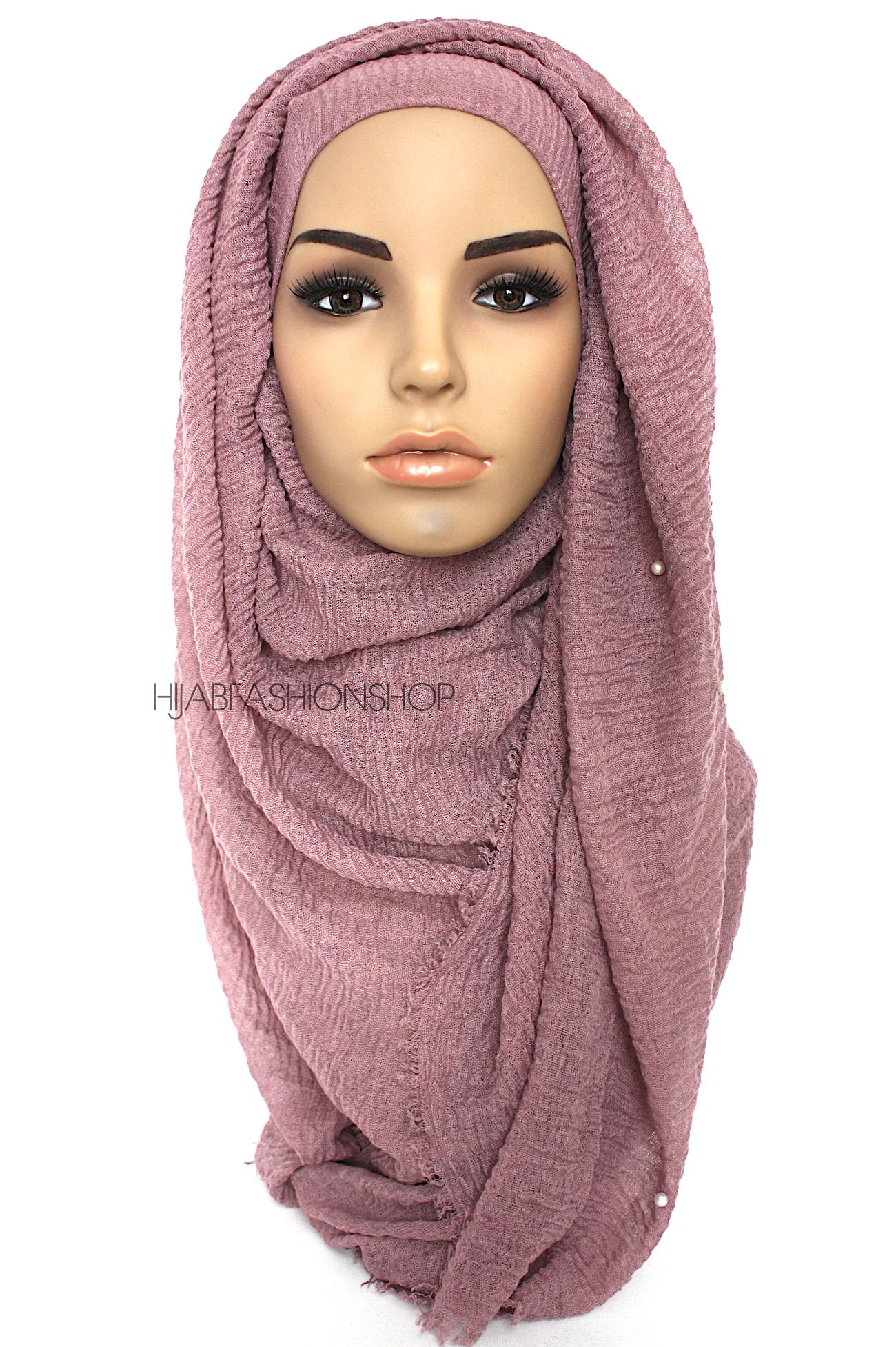 dark mauve crimp crinkle hijab with pearls