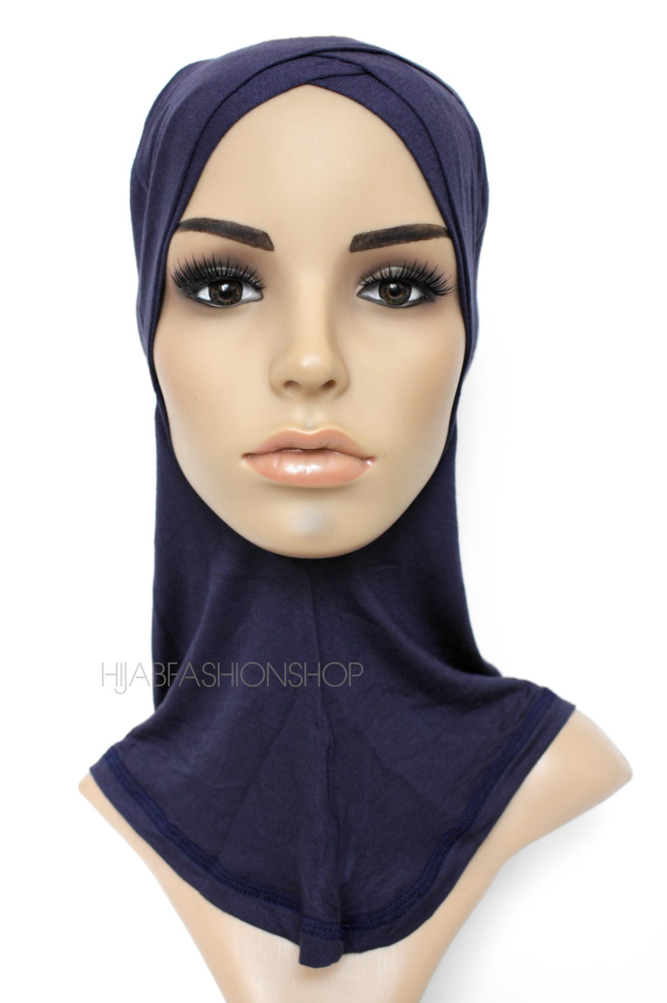 navy full hijab underscarf with double criss cross peak