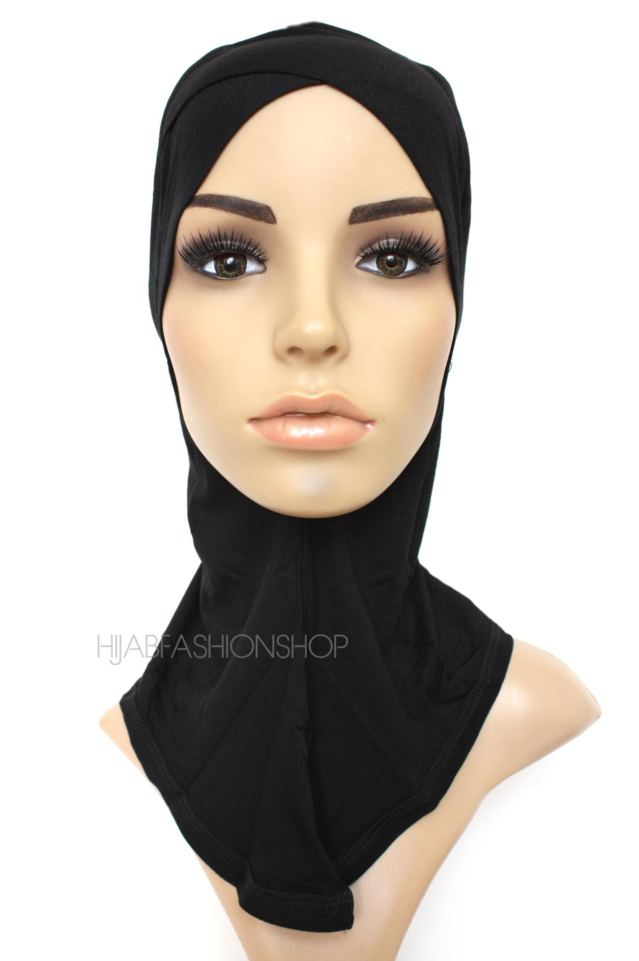 black full hijab underscarf with criss cross peak