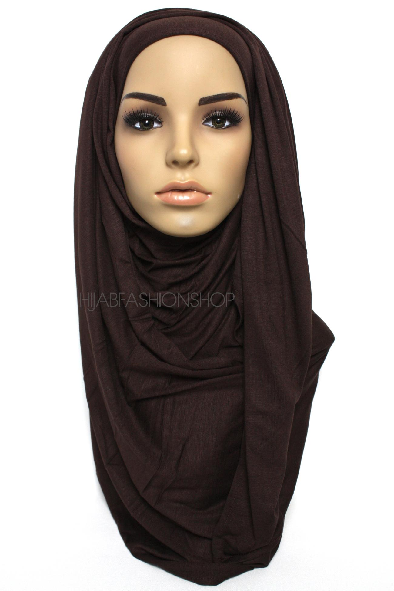 dark chocolate plain jersey hijab