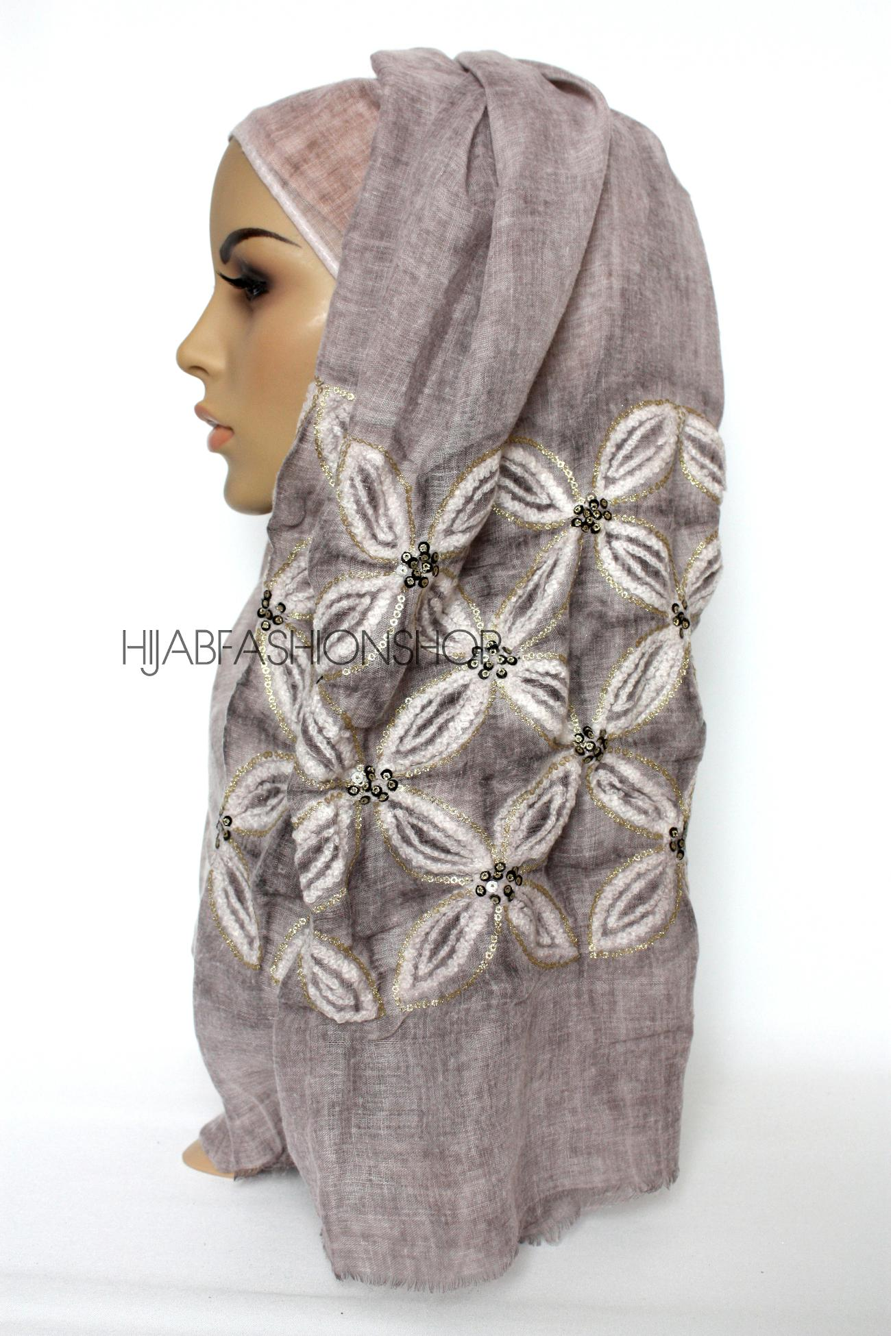 dusky mauve linen look hijab with lilies embroidery and sequins side view