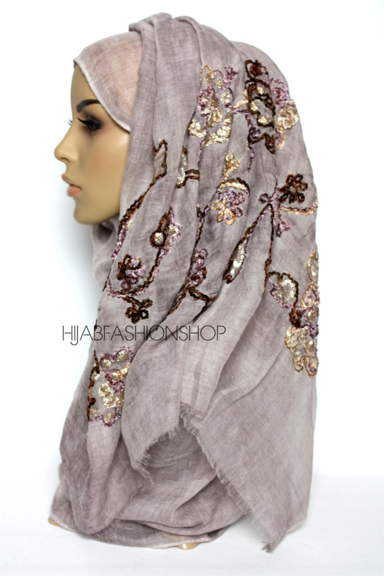 dusky mauve linen look hijab with floral velvet embroidery and sequins side view