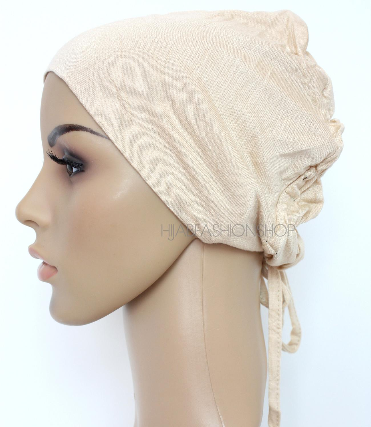 nude ruched back string bonnet
