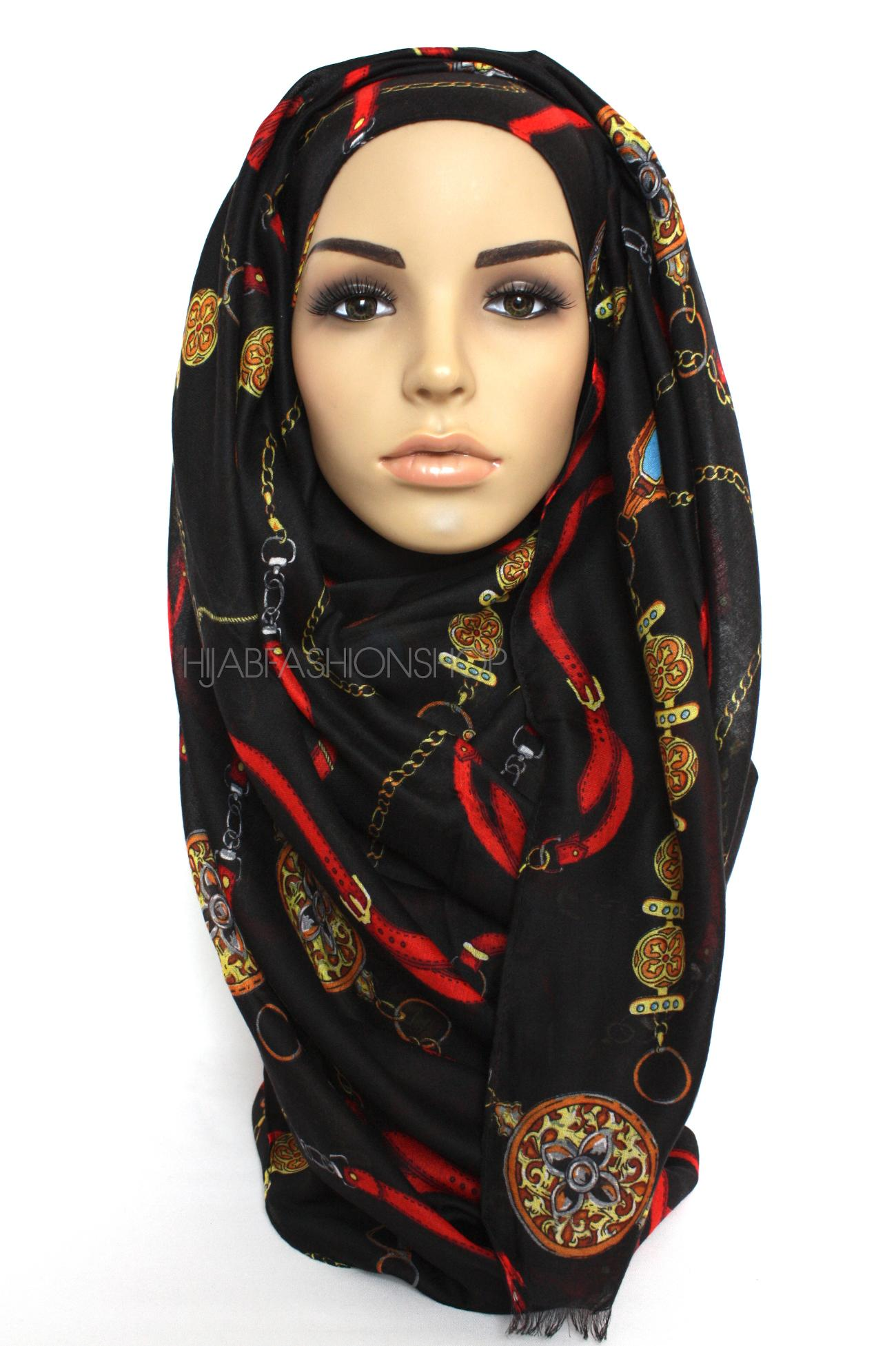 black hijab with chain print
