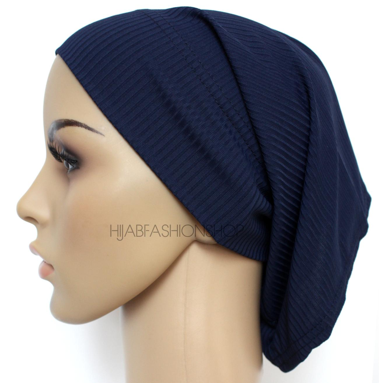 navy ribbed tube underscarf