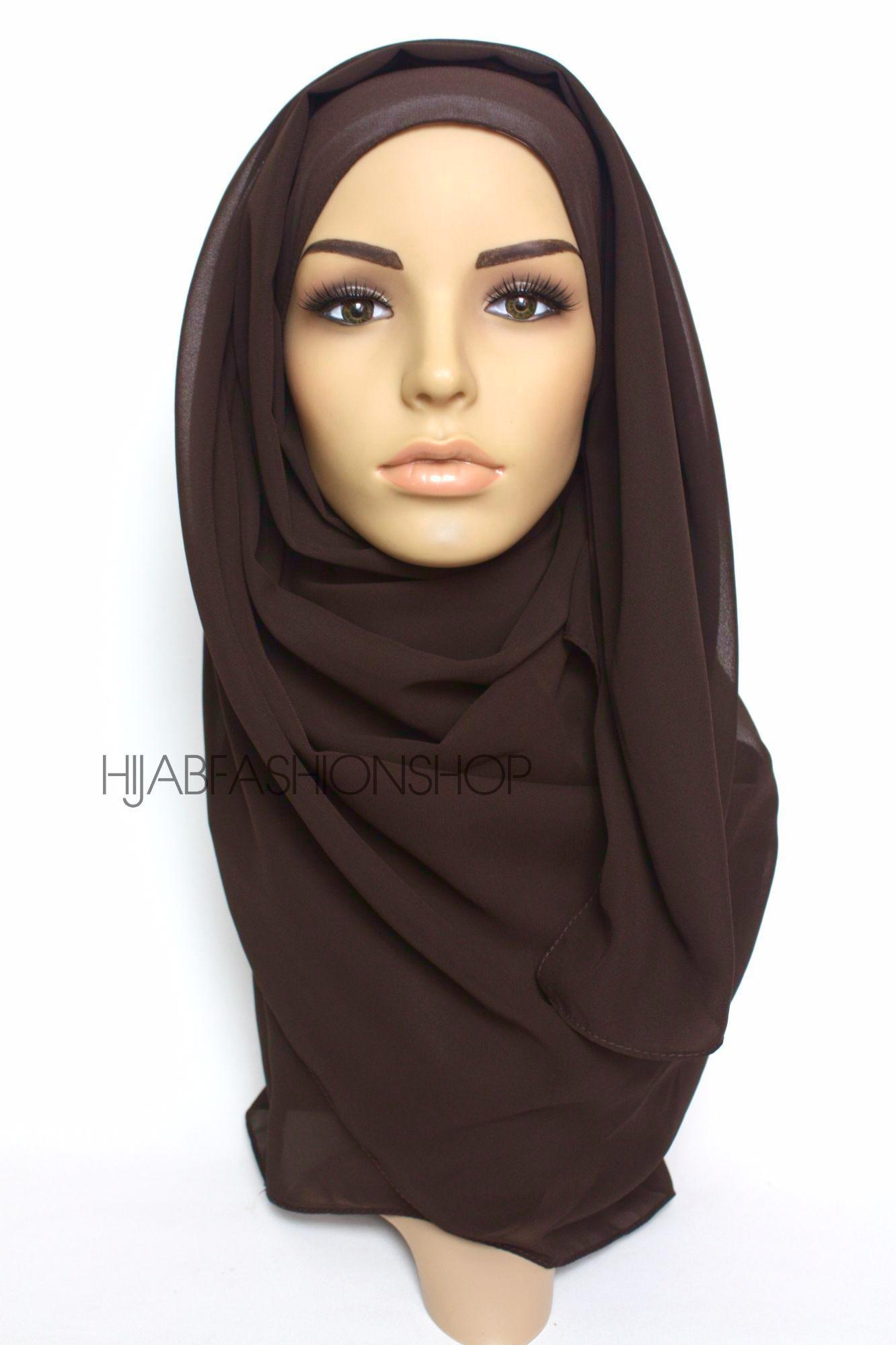 dark chocolate crepe chiffon hijab