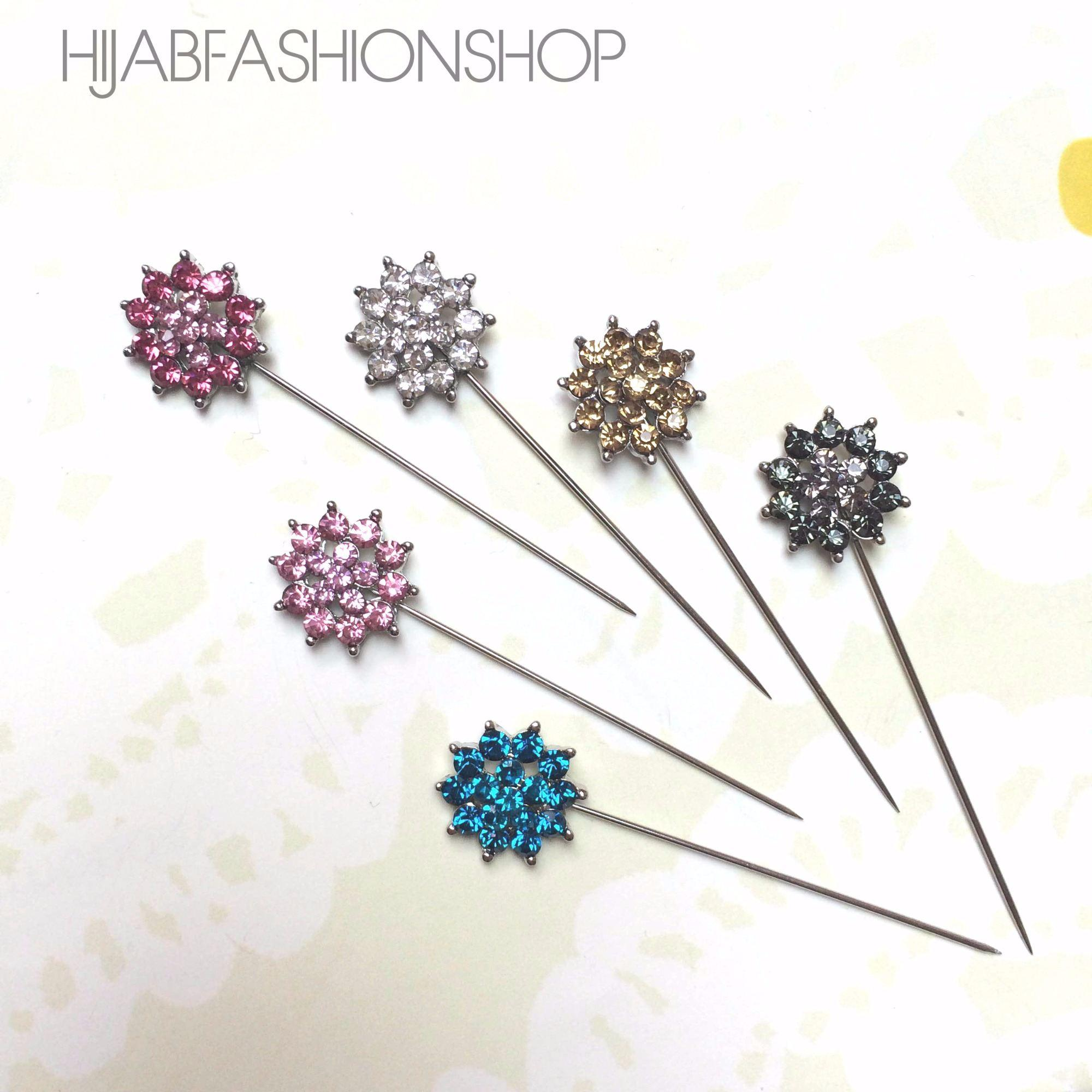 6 floral crystal hijab pins in variety of colours