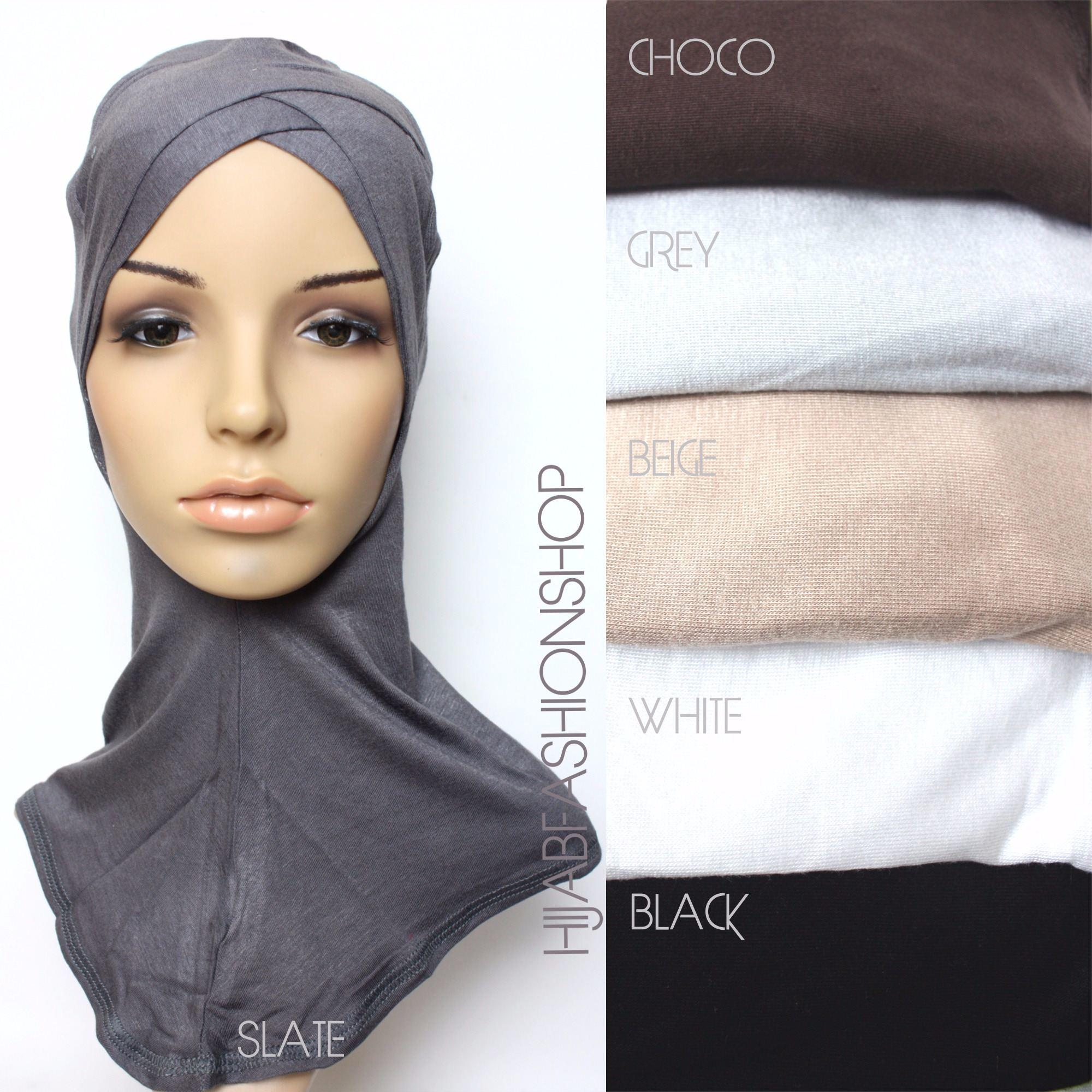 slate full hijab underscarf with double criss cross peak and colour swatch