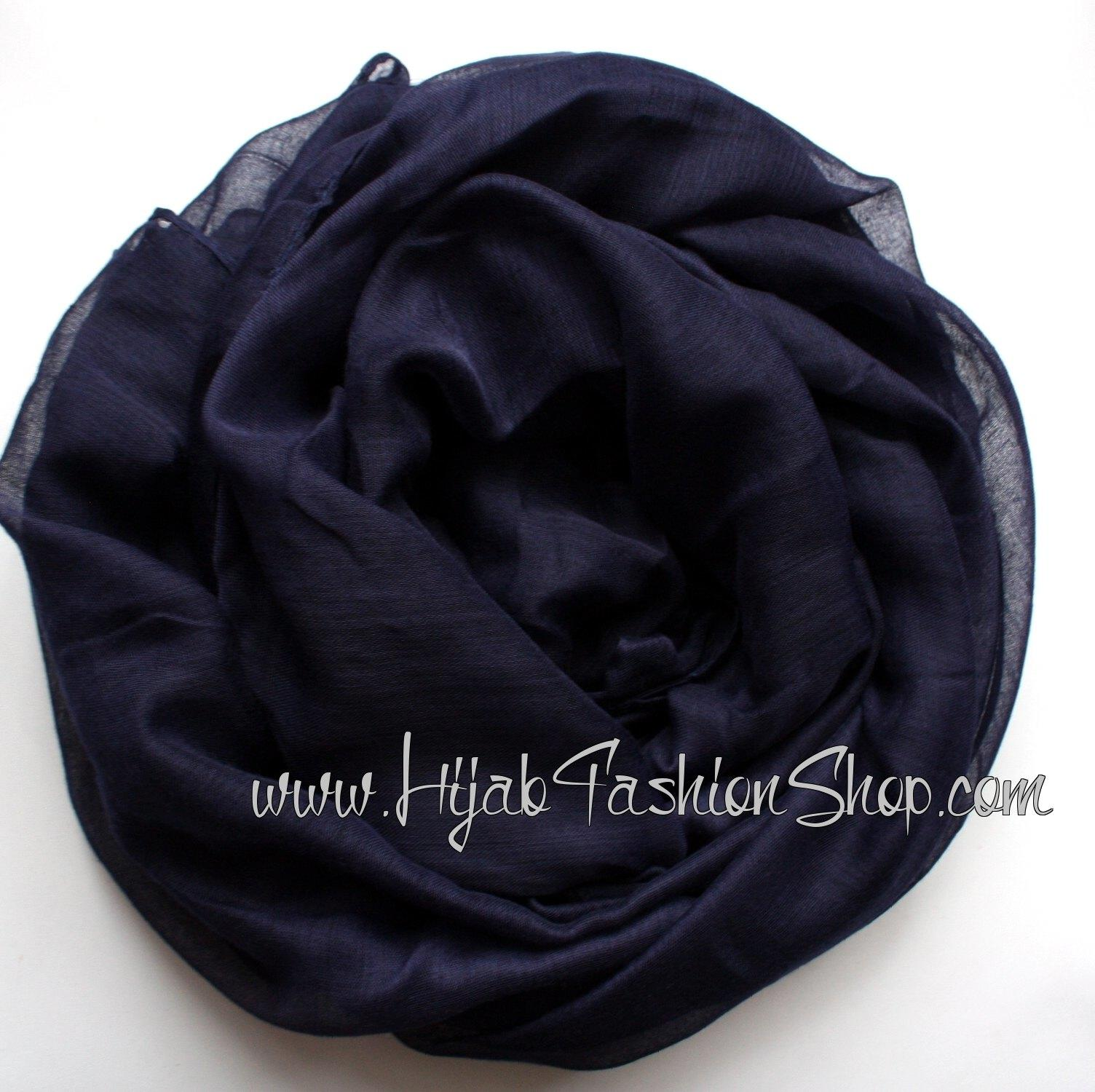navy plain viscose hijab