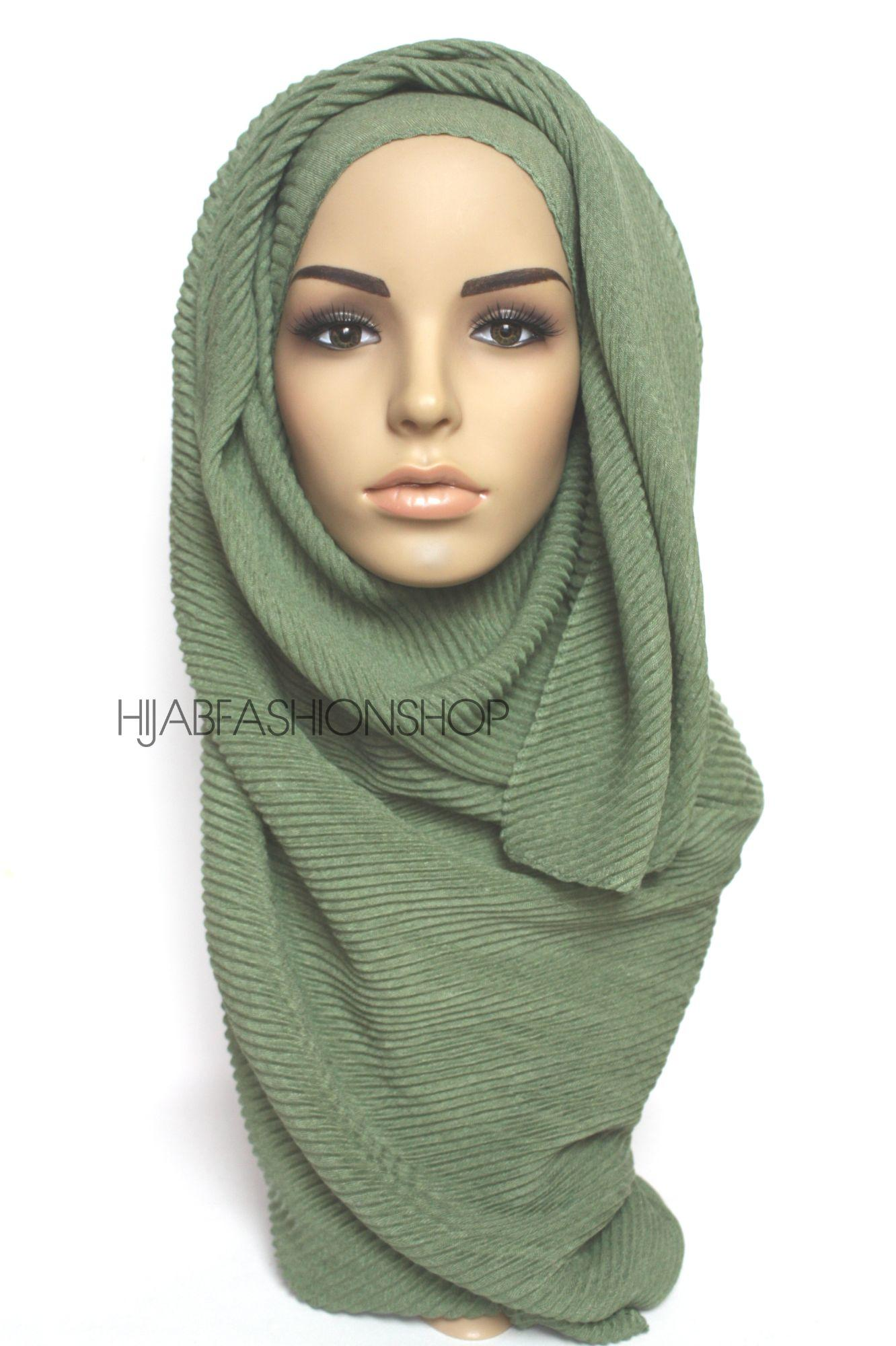 olive pleated hijab