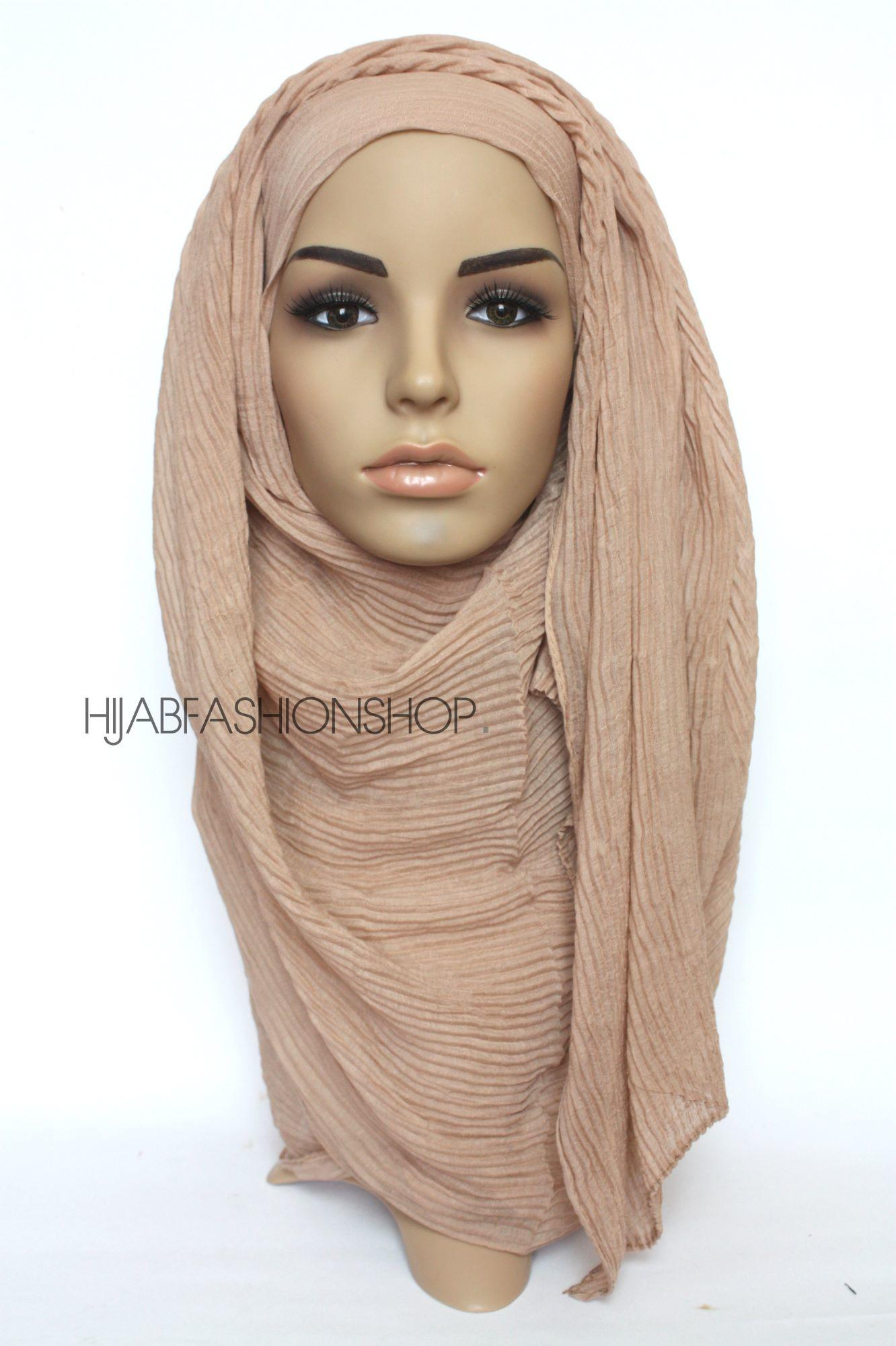 beige pleated hijab