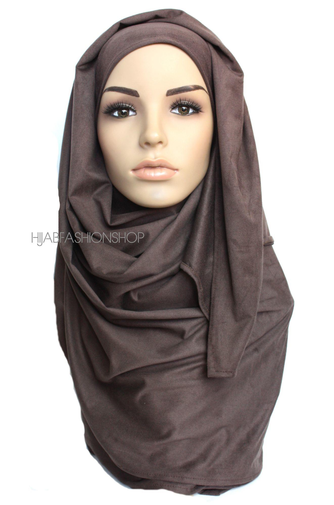chocolate brown suede hijab