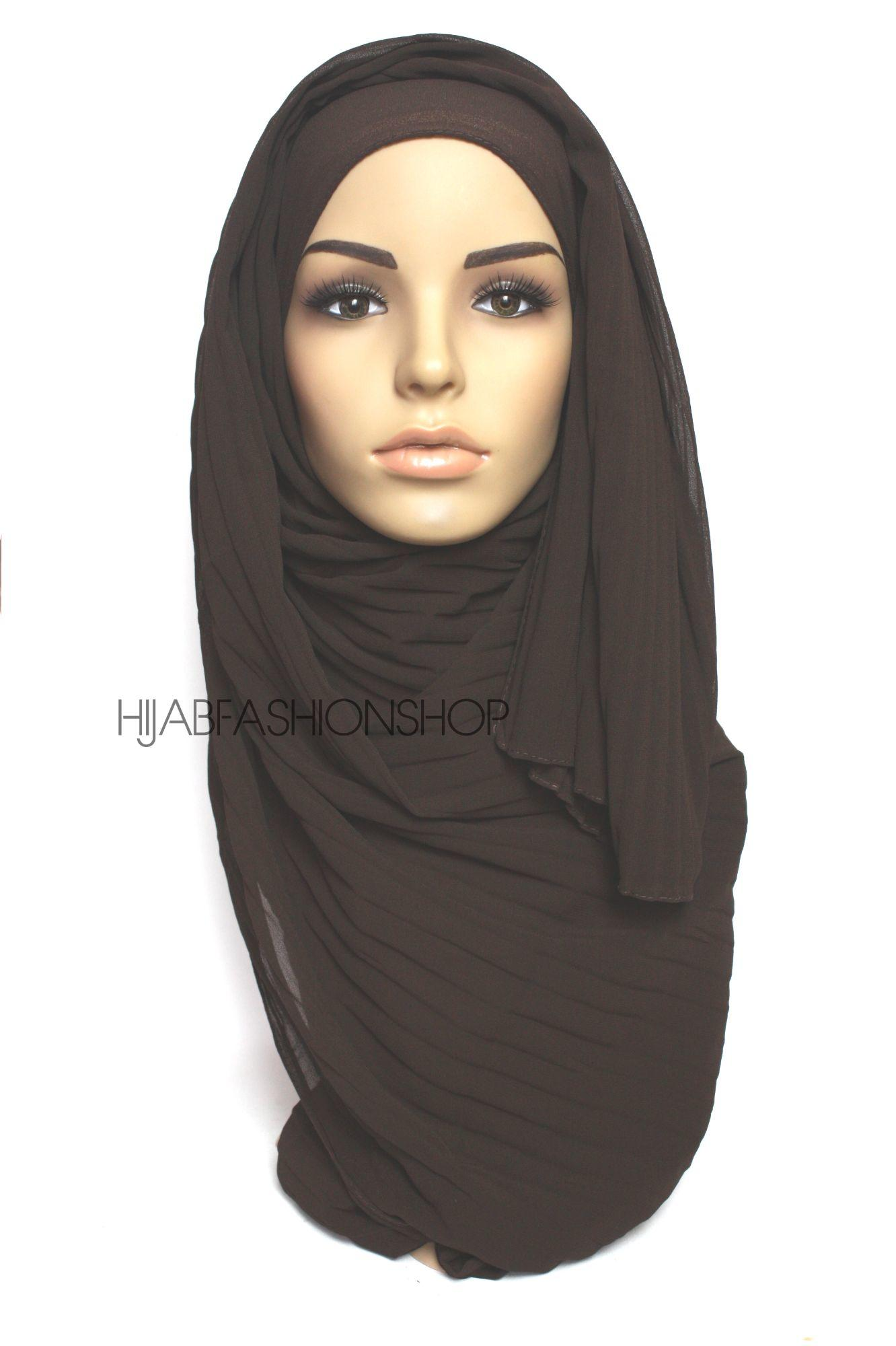 dark chocolate pleated crepe chiffon hijab