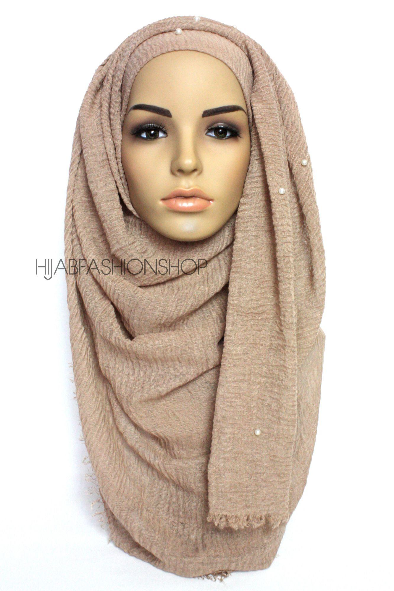 cappuccino crimp crinkle hijab with pearls