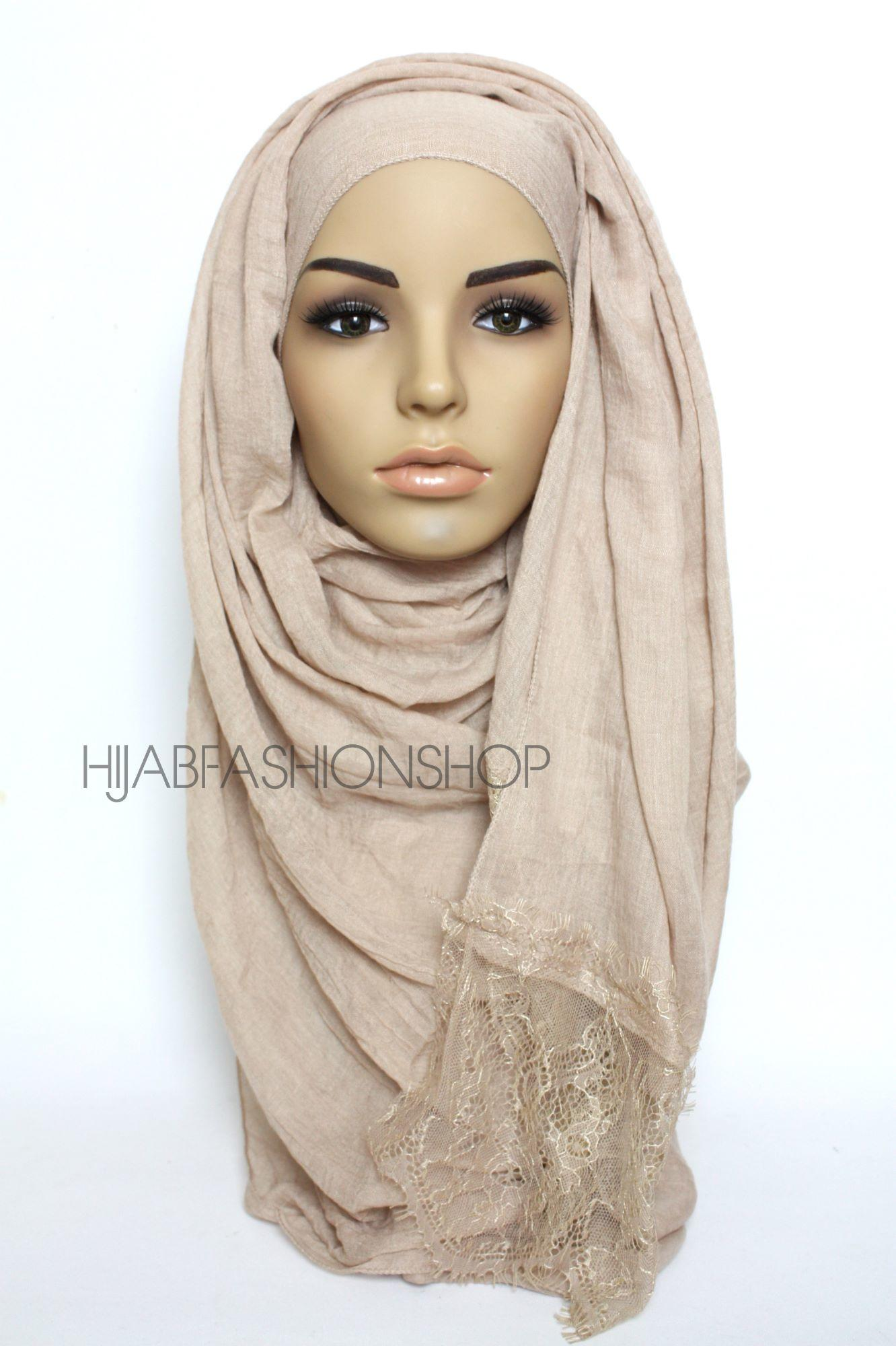 nude plain hijab with lace edges