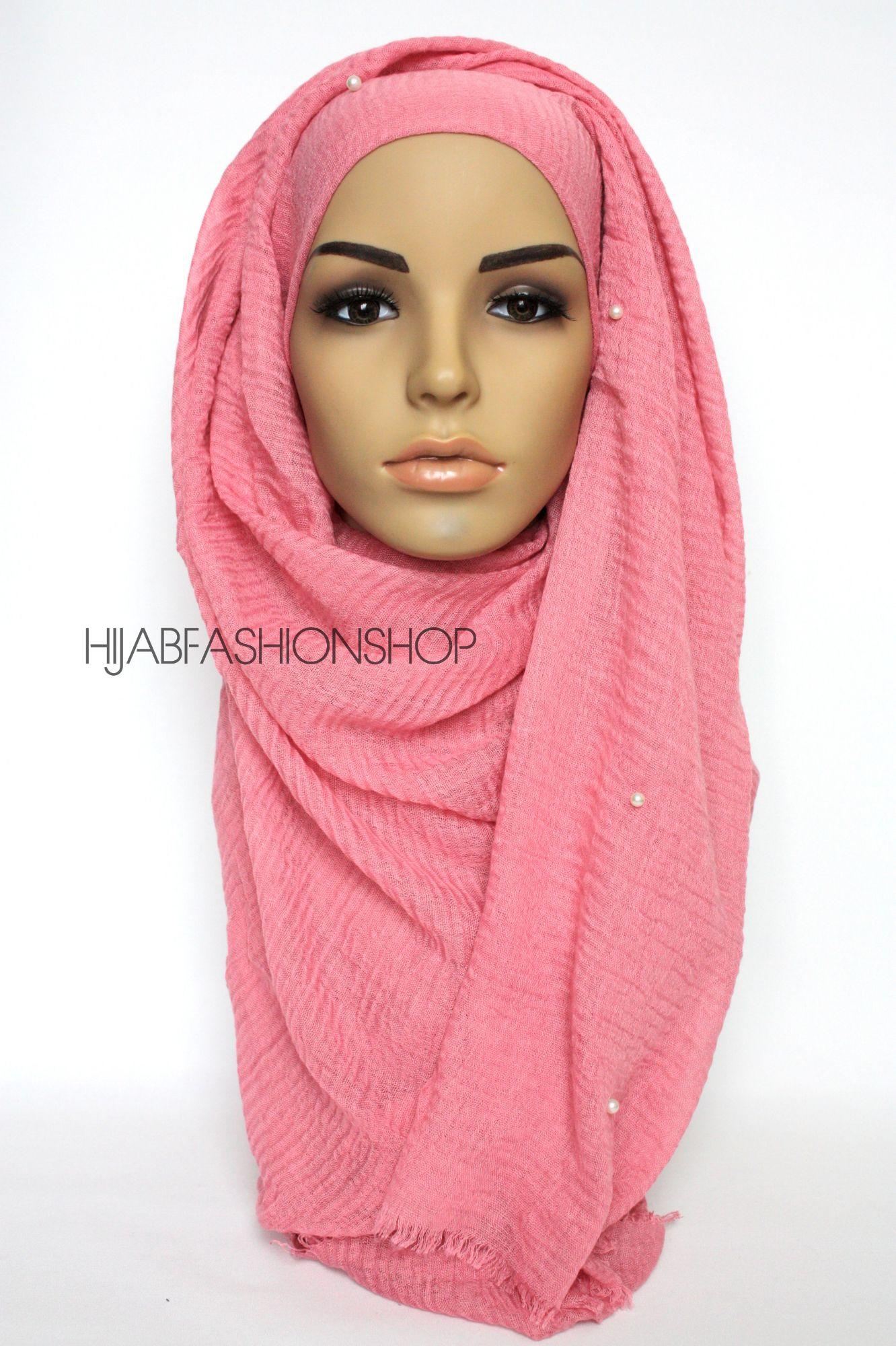 pink crimp crinkle hijab with pearls