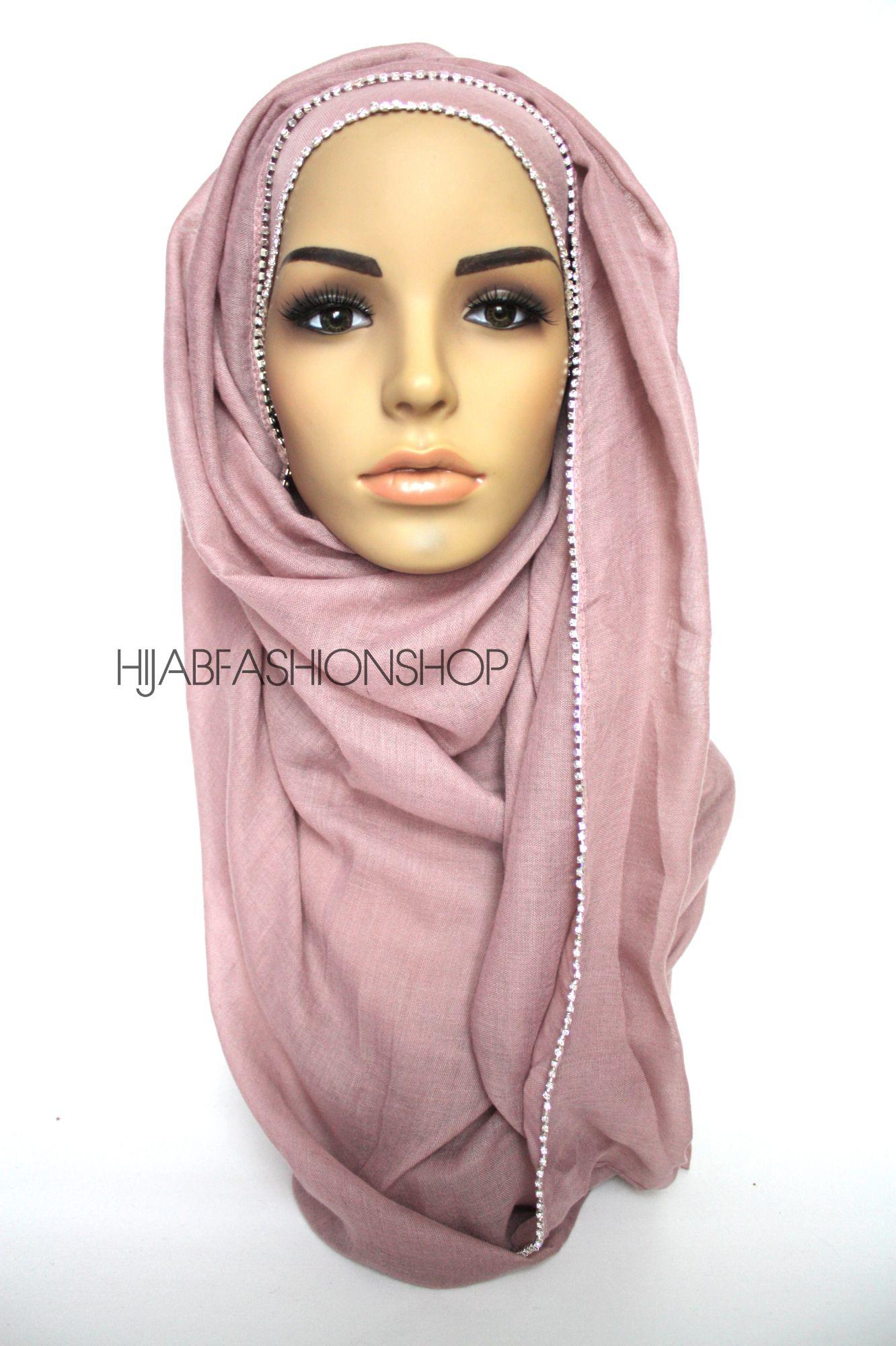 mauve plain hijab with clear crystal line on one longer edge