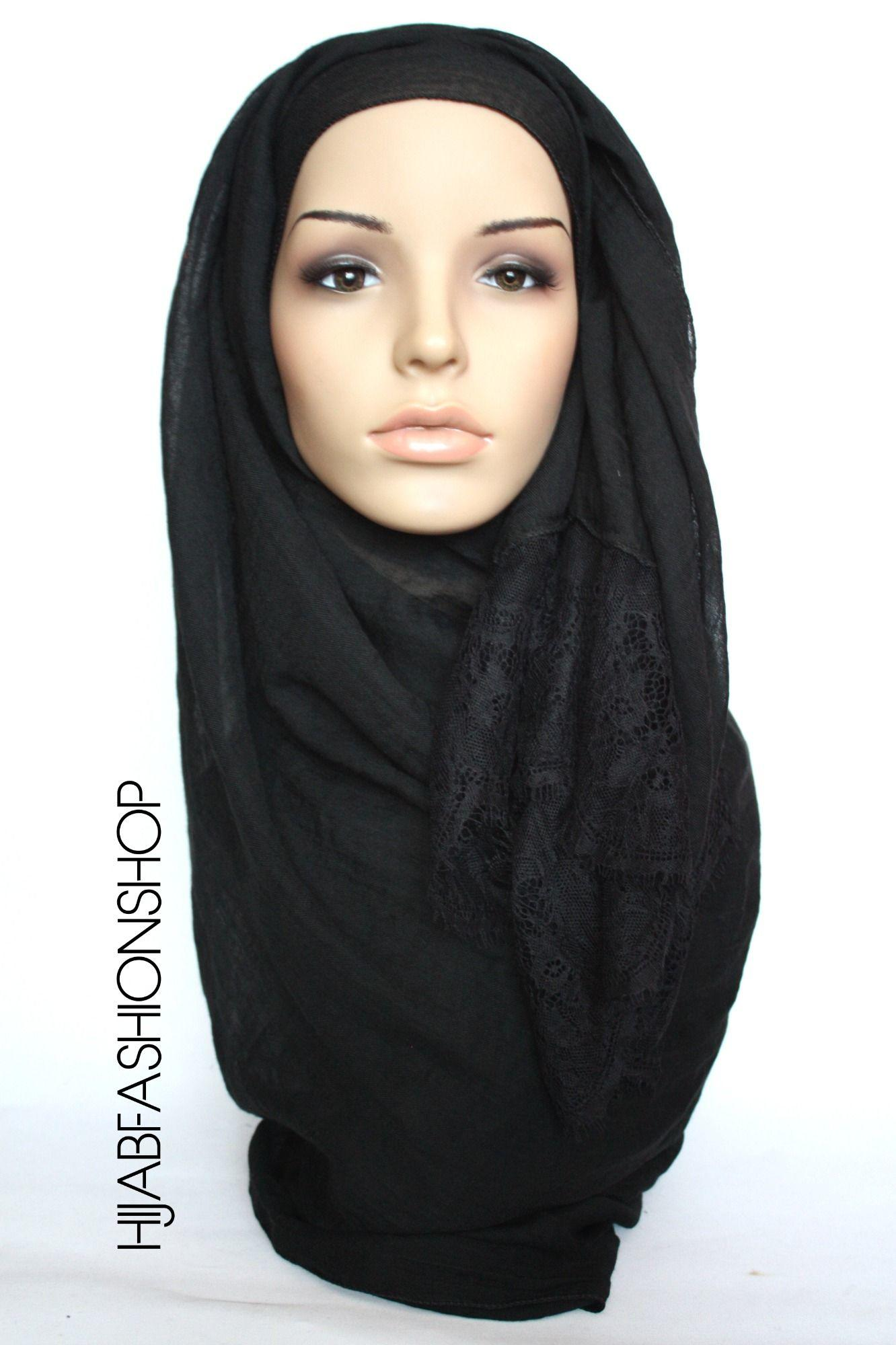 black plain hijab with lace edges