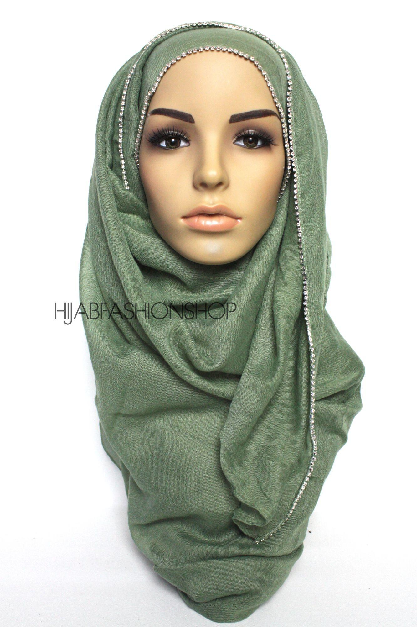 olive plain hijab with clear crystal line on one longer edge