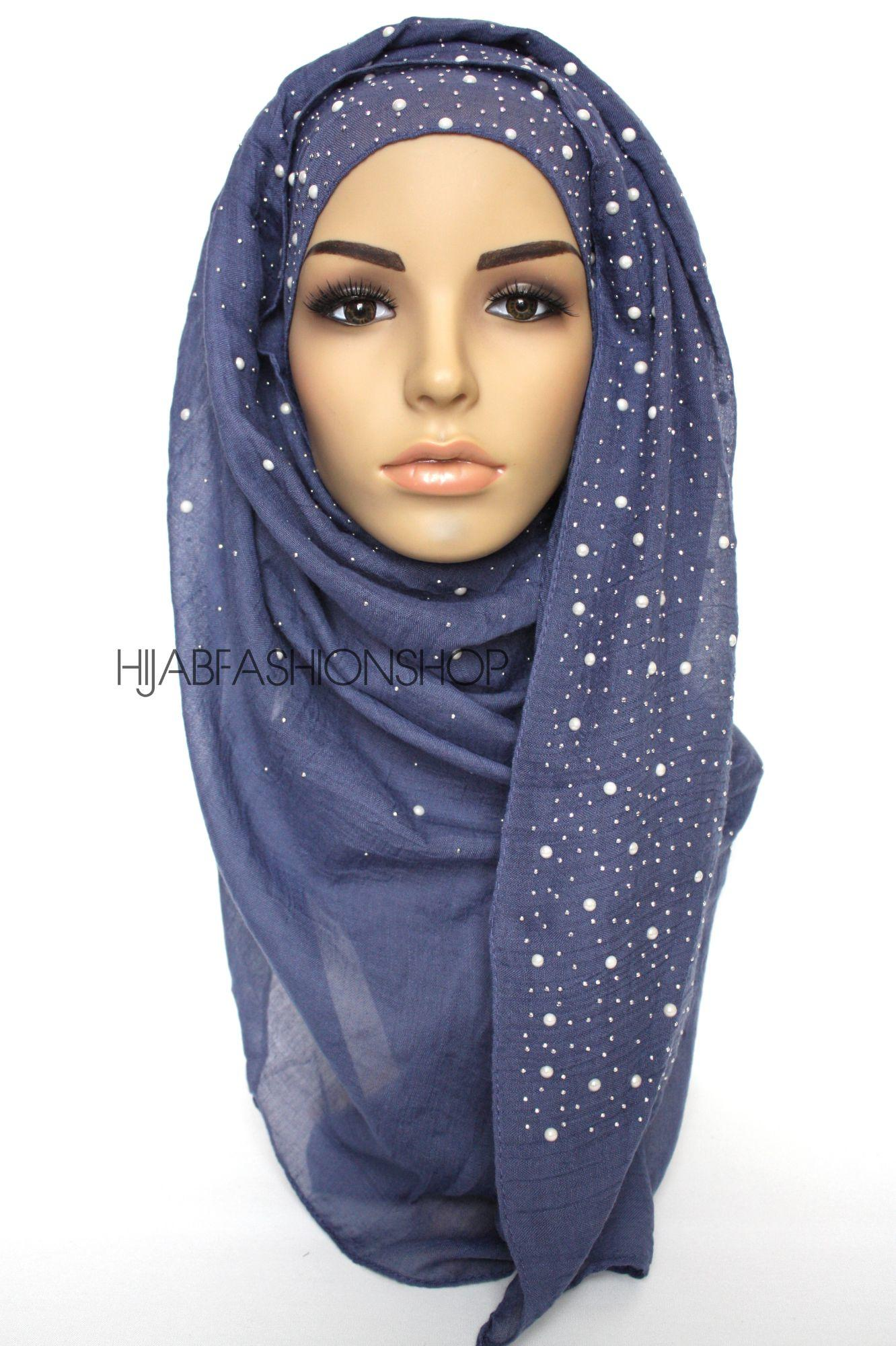 dark denim hijab with silver studs and pearls