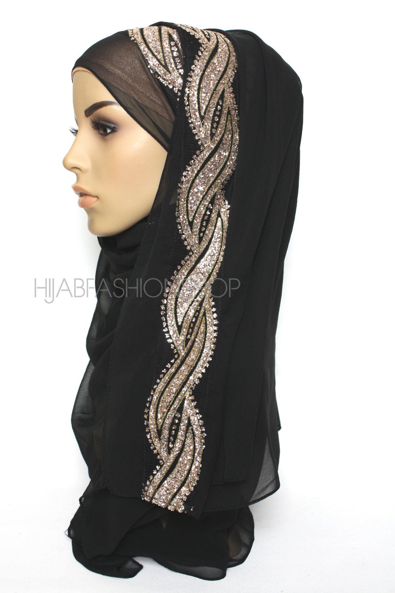 black chiffon hijab with glitter line on one side