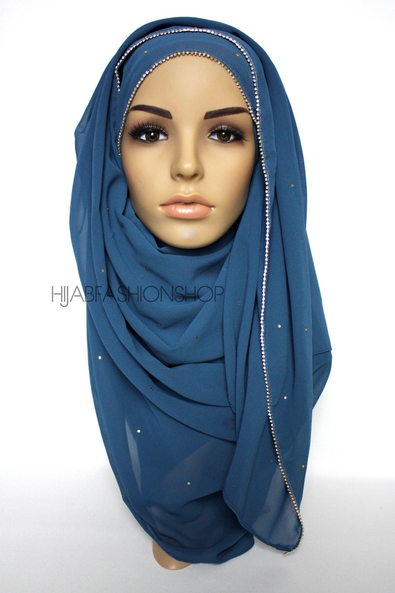 blue chiffon hijab with clear crystal line on longer edge