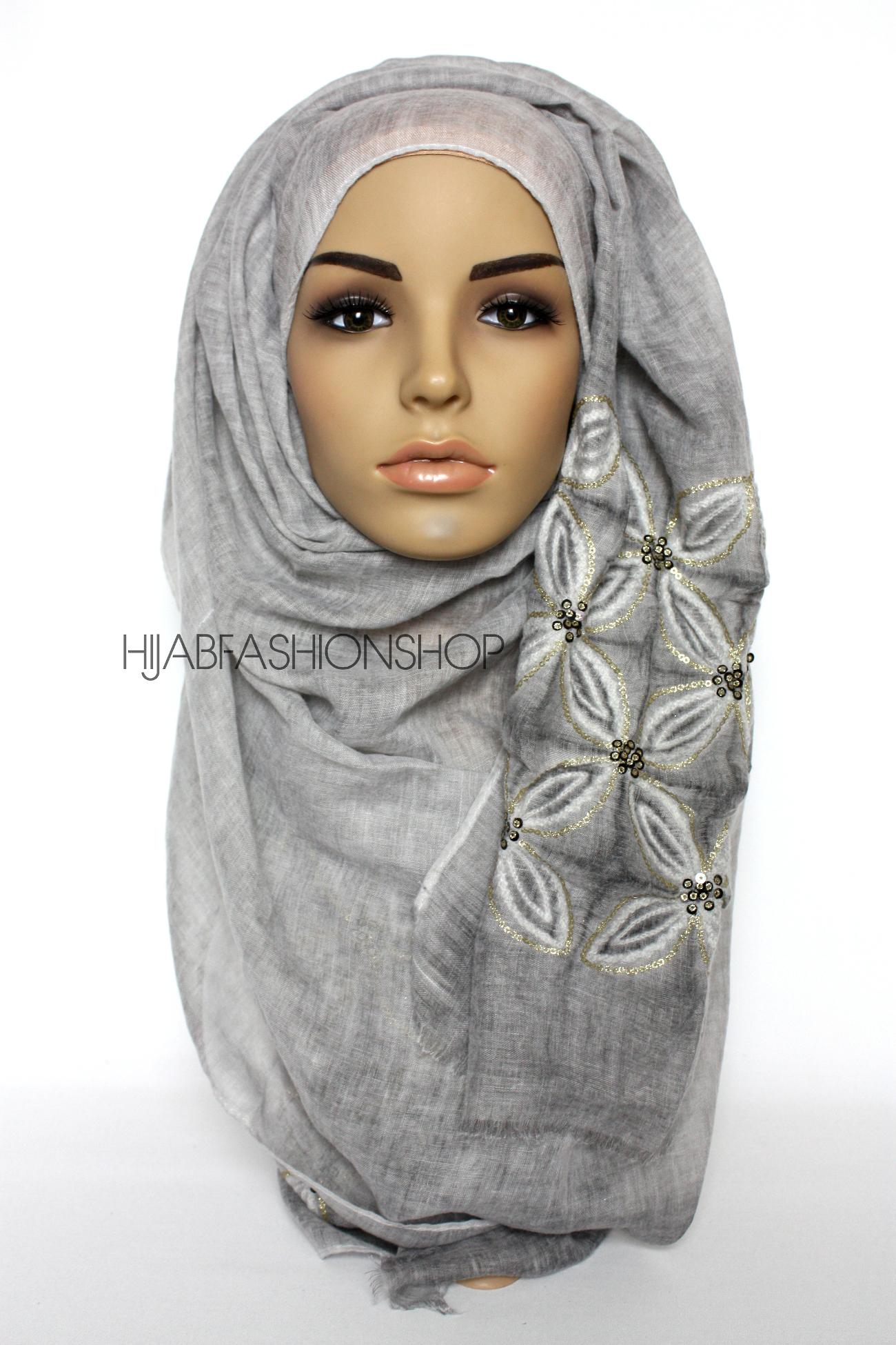 grey linen look hijab with lilies embroidery and sequins