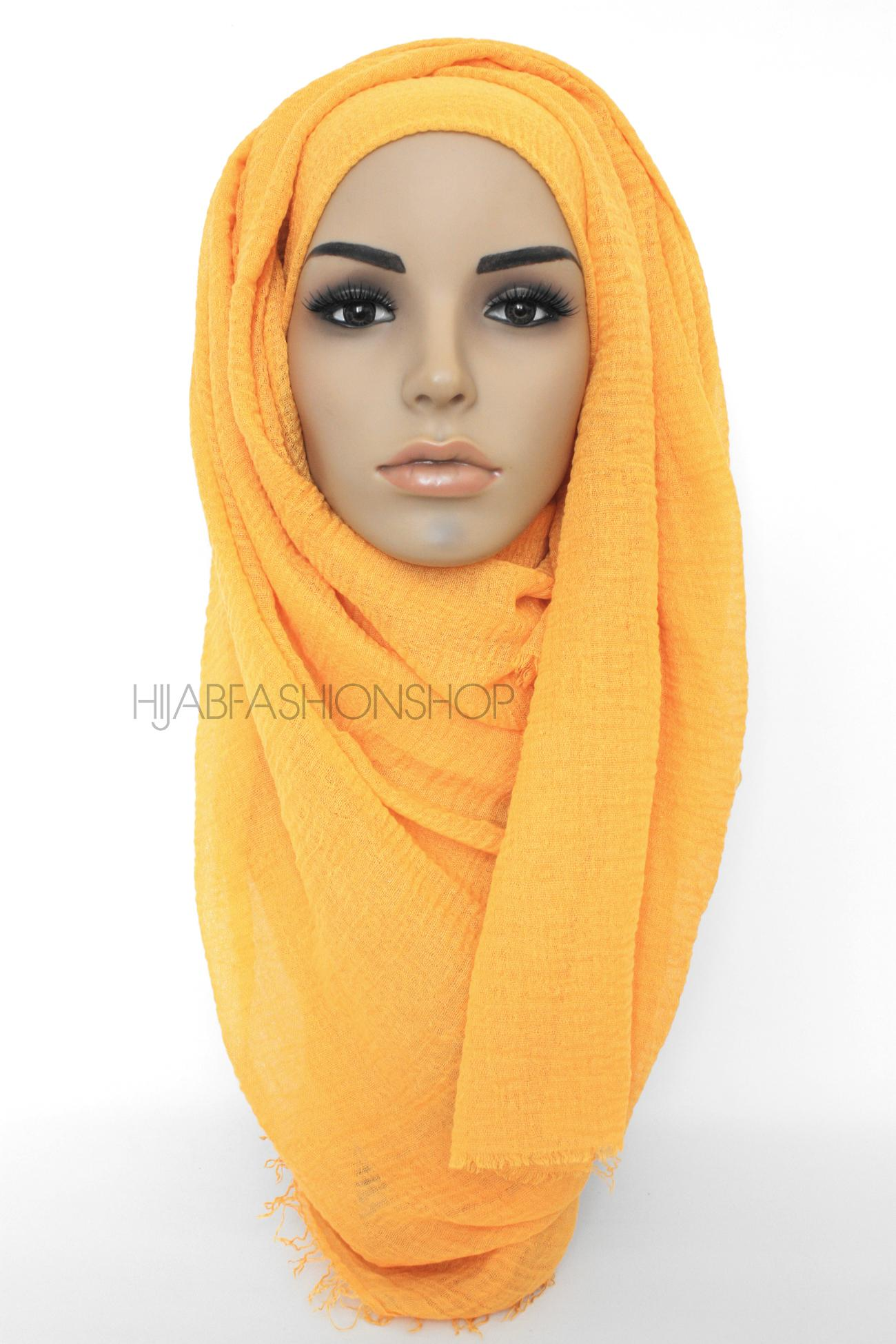 orange crimp crinkle hijab