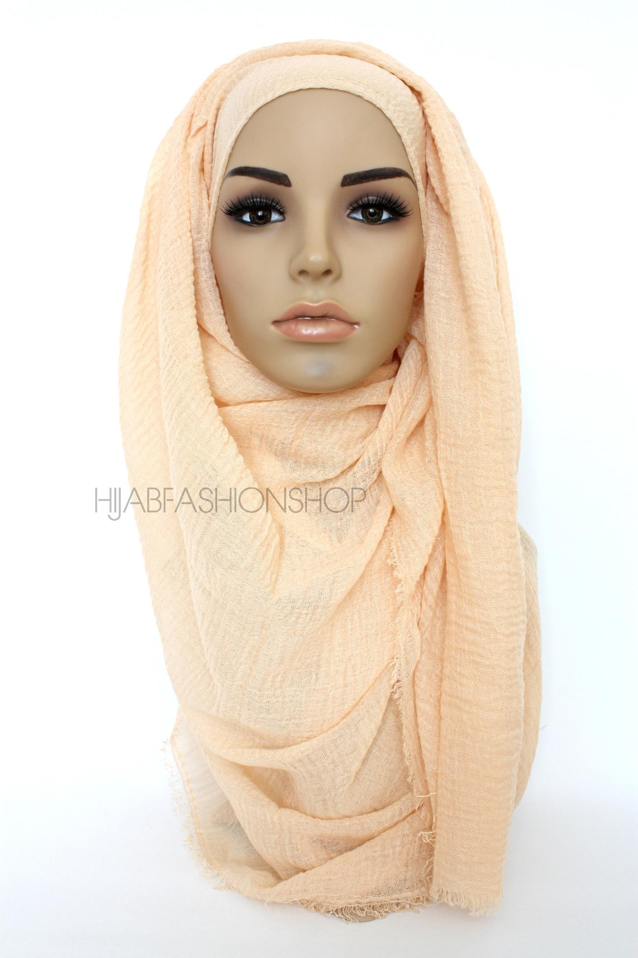 peachy cream crimp crinkle hijab