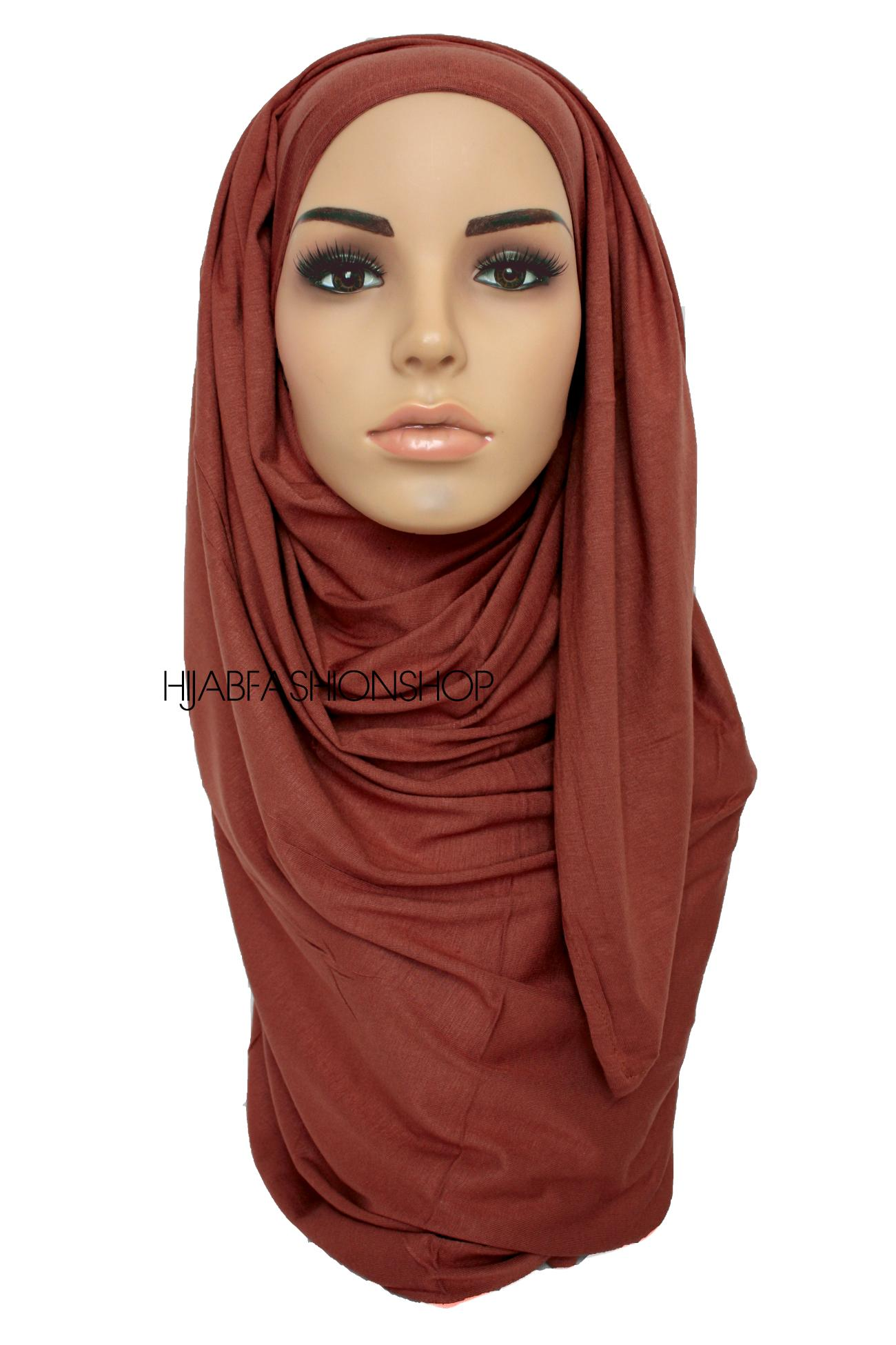 brick brown jersey hijab