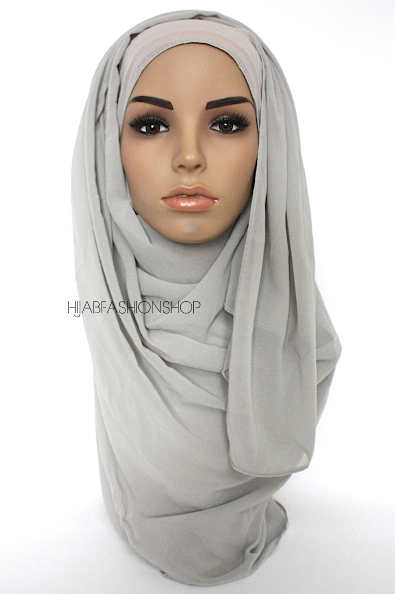 dusty grey crepe chiffon hijab