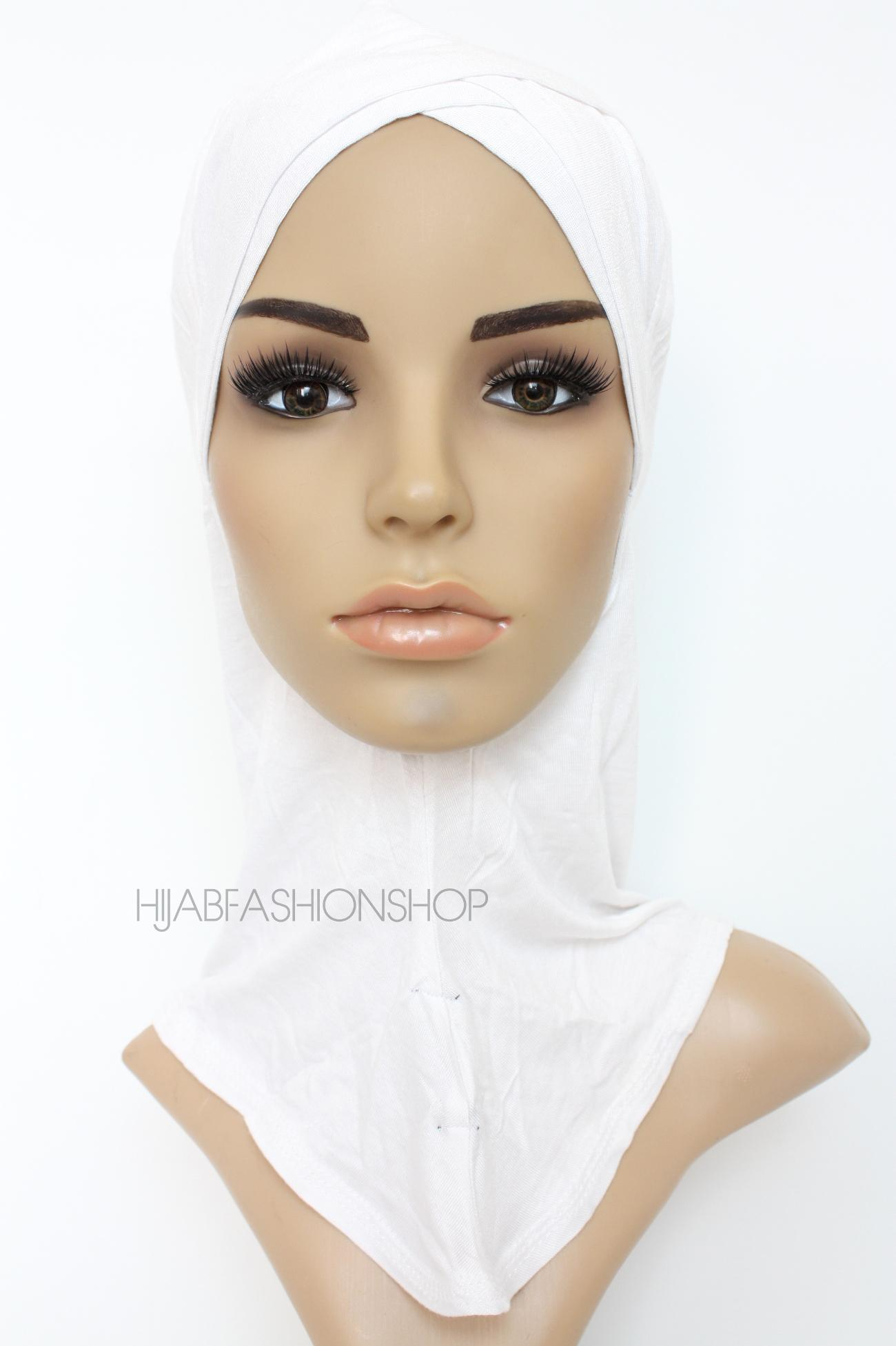 white full hijab underscarf with double criss cross peak