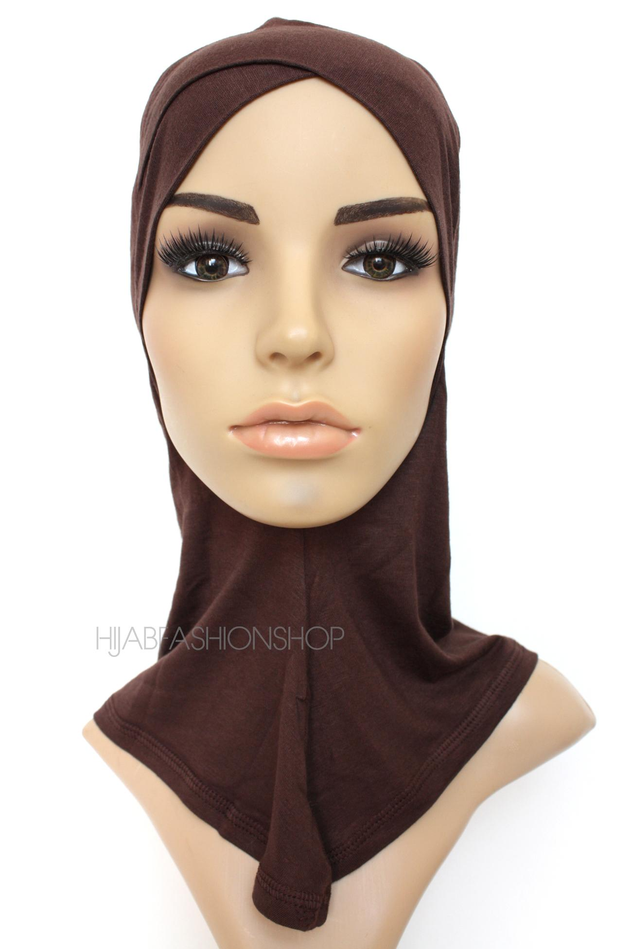 chocolate full hijab underscarf with criss cross peak