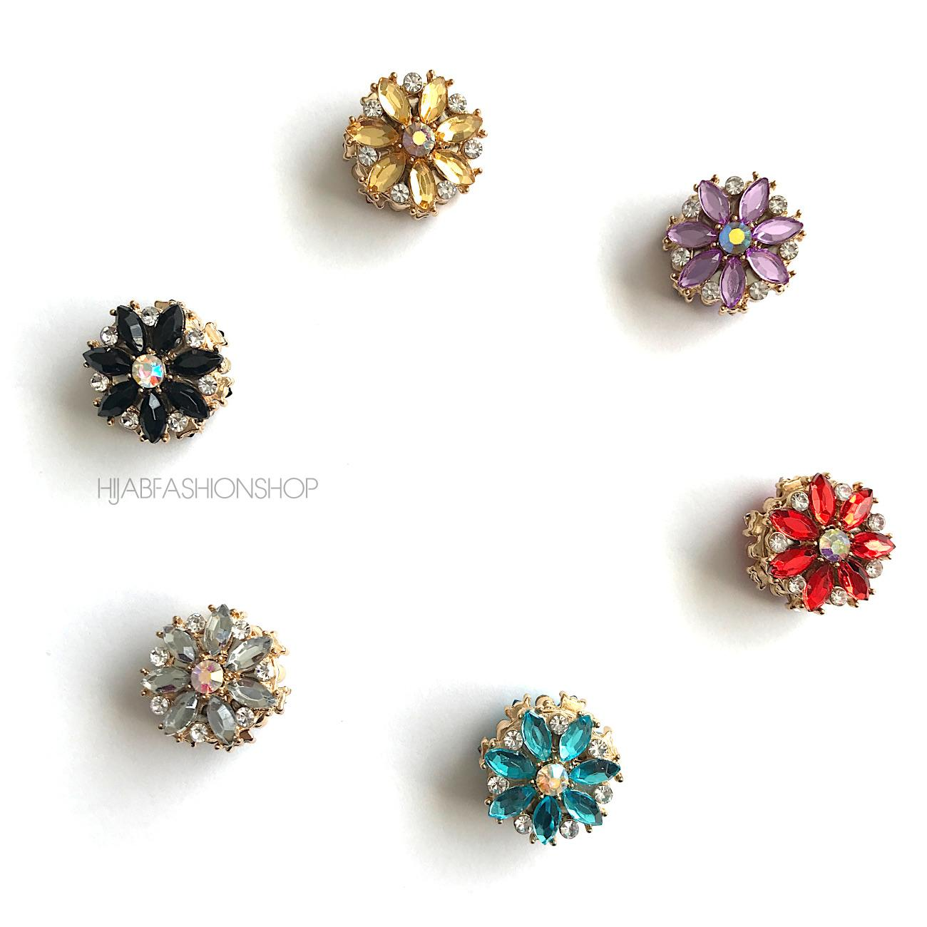 6 floral design round magnetic hijab pins in variety of colours