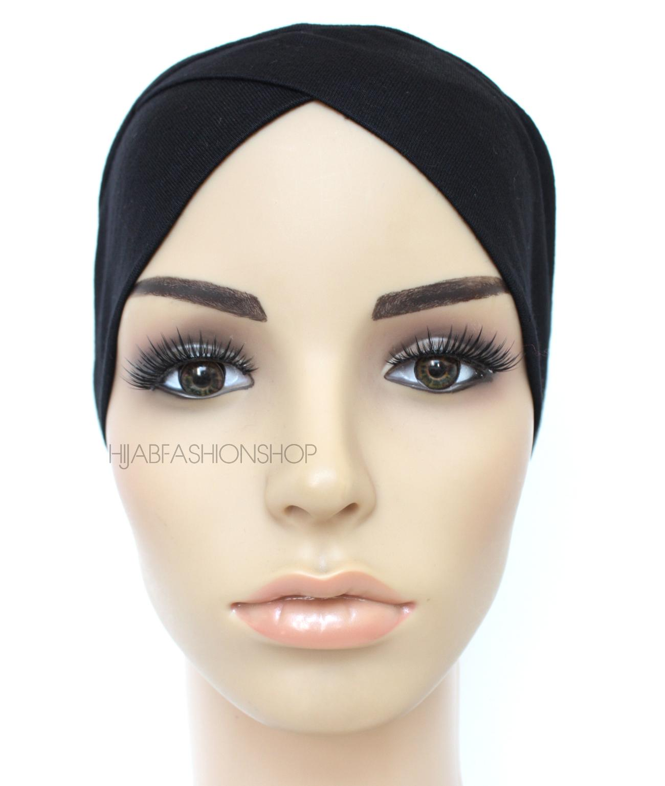 black crossover hijab cap