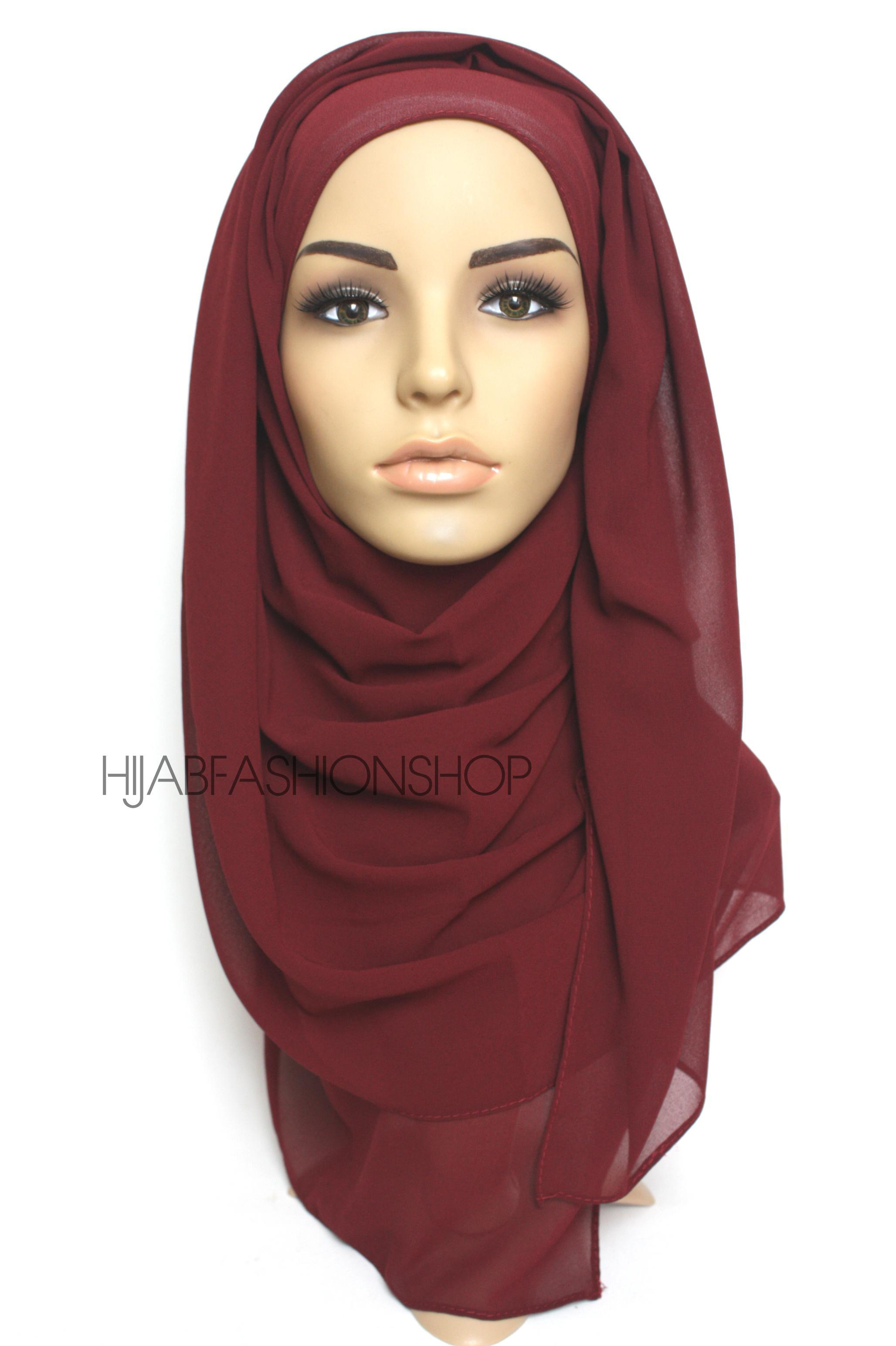 rusty red crepe chiffon hijab