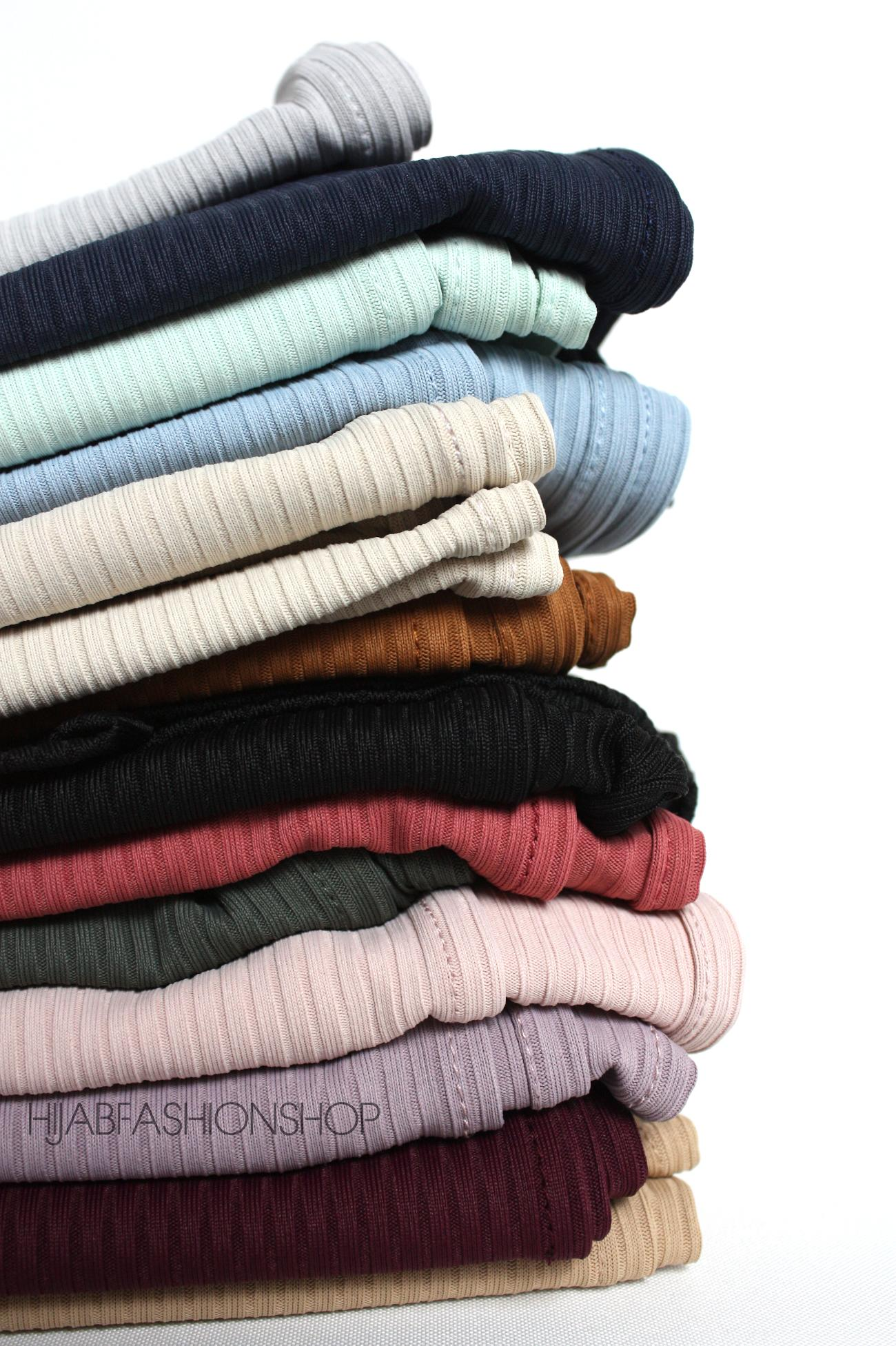 pile of colourful ribbed jersey hijabs