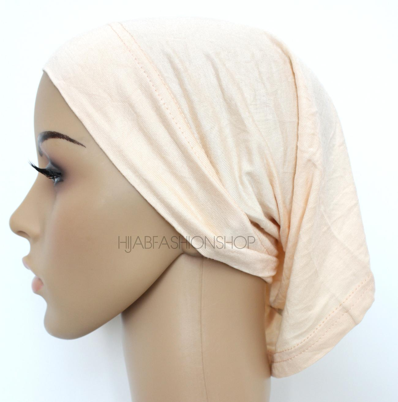 cream tube hijab cap