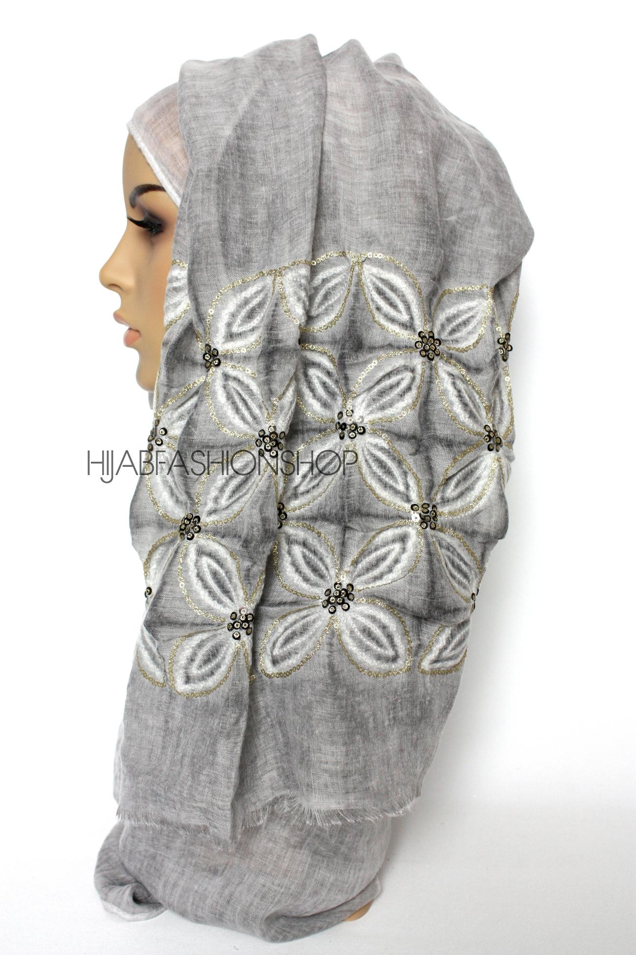grey linen look hijab with lilies embroidery and sequins side view
