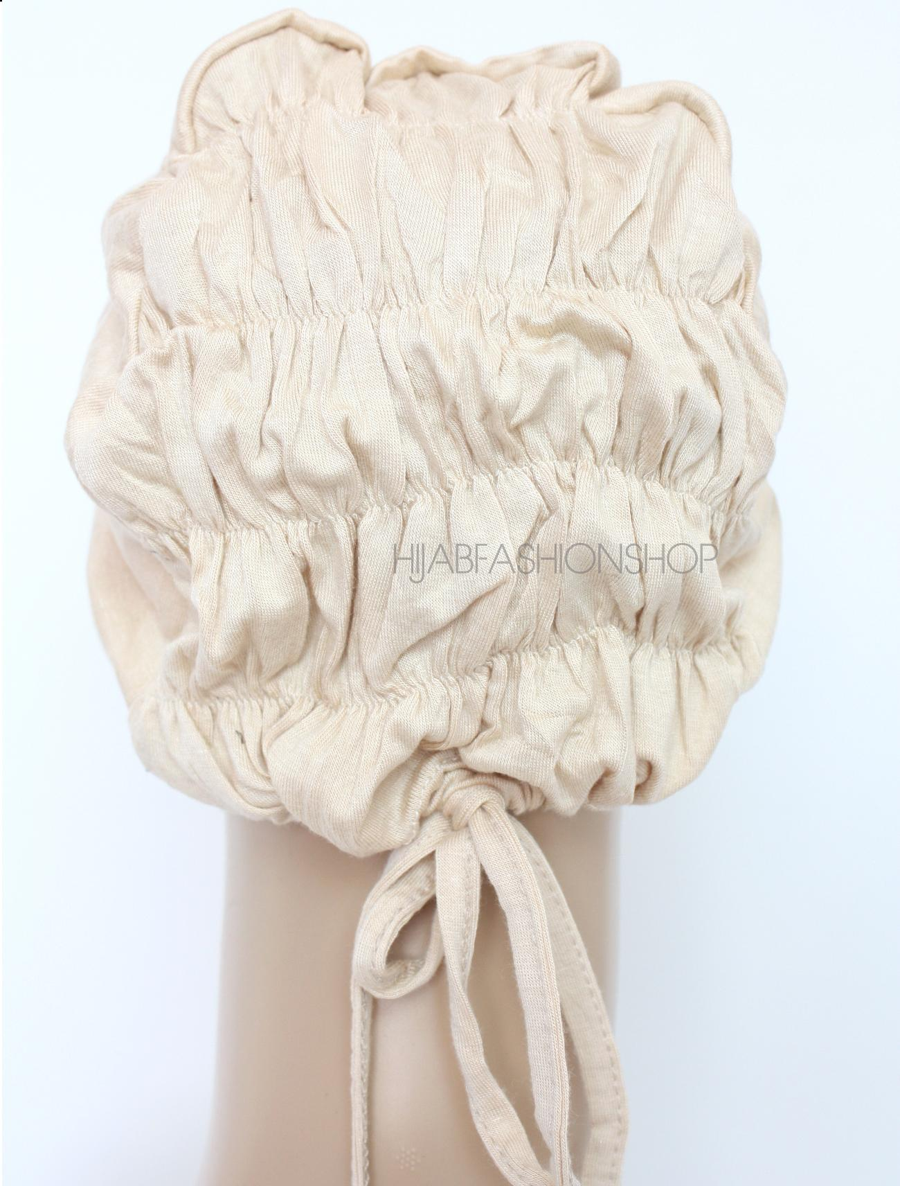nude ruched back string bonnet back view