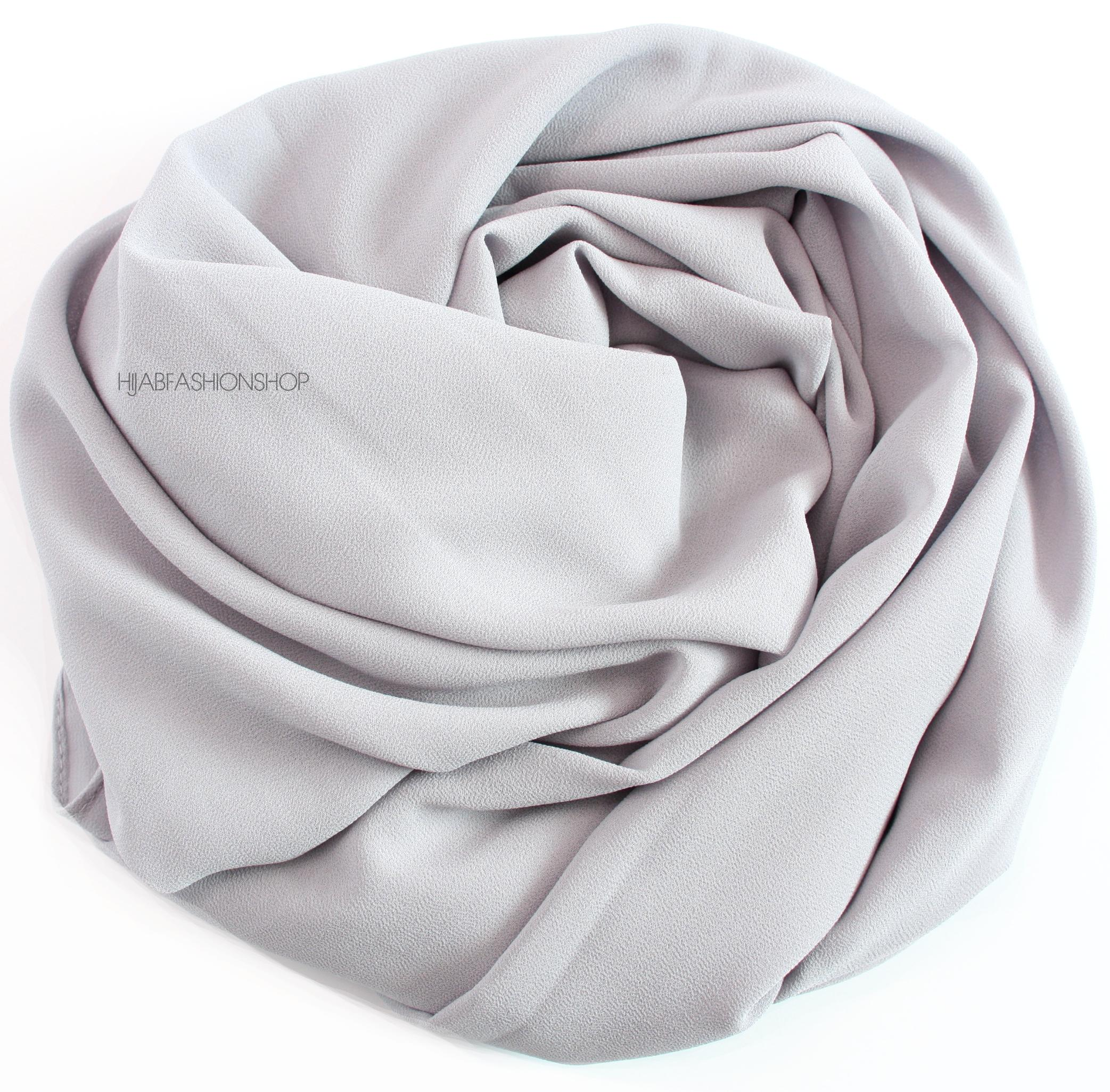 light grey maxi premium crepe chiffon hijab