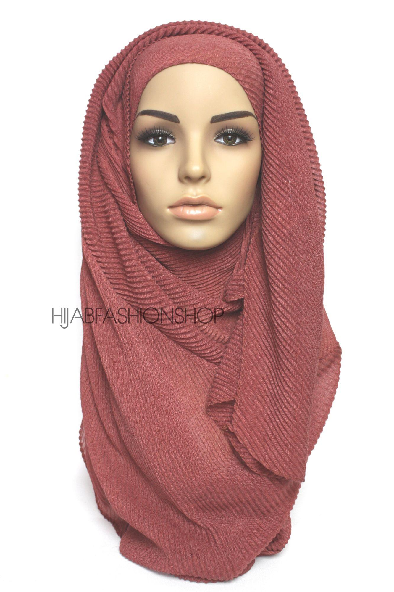 red brick pleated hijab