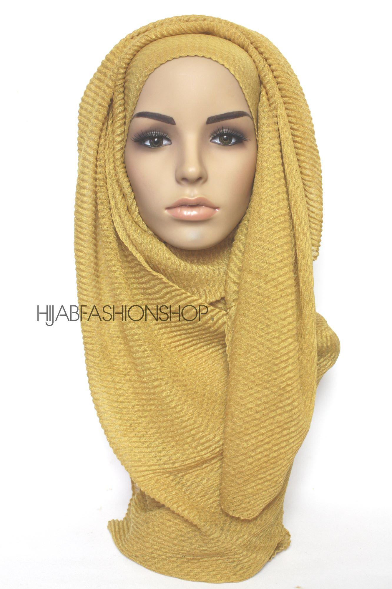 mustard pleated hijab