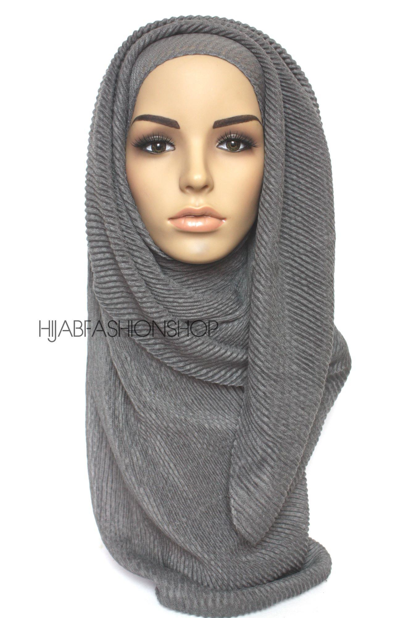 slate pleated hijab