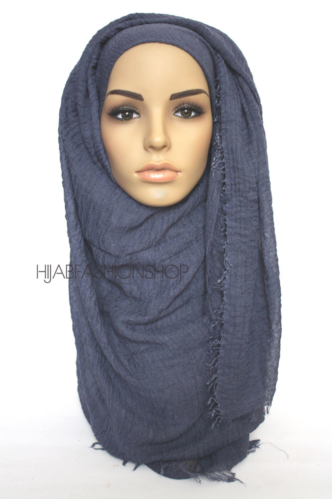 navy crimp crinkle hijab