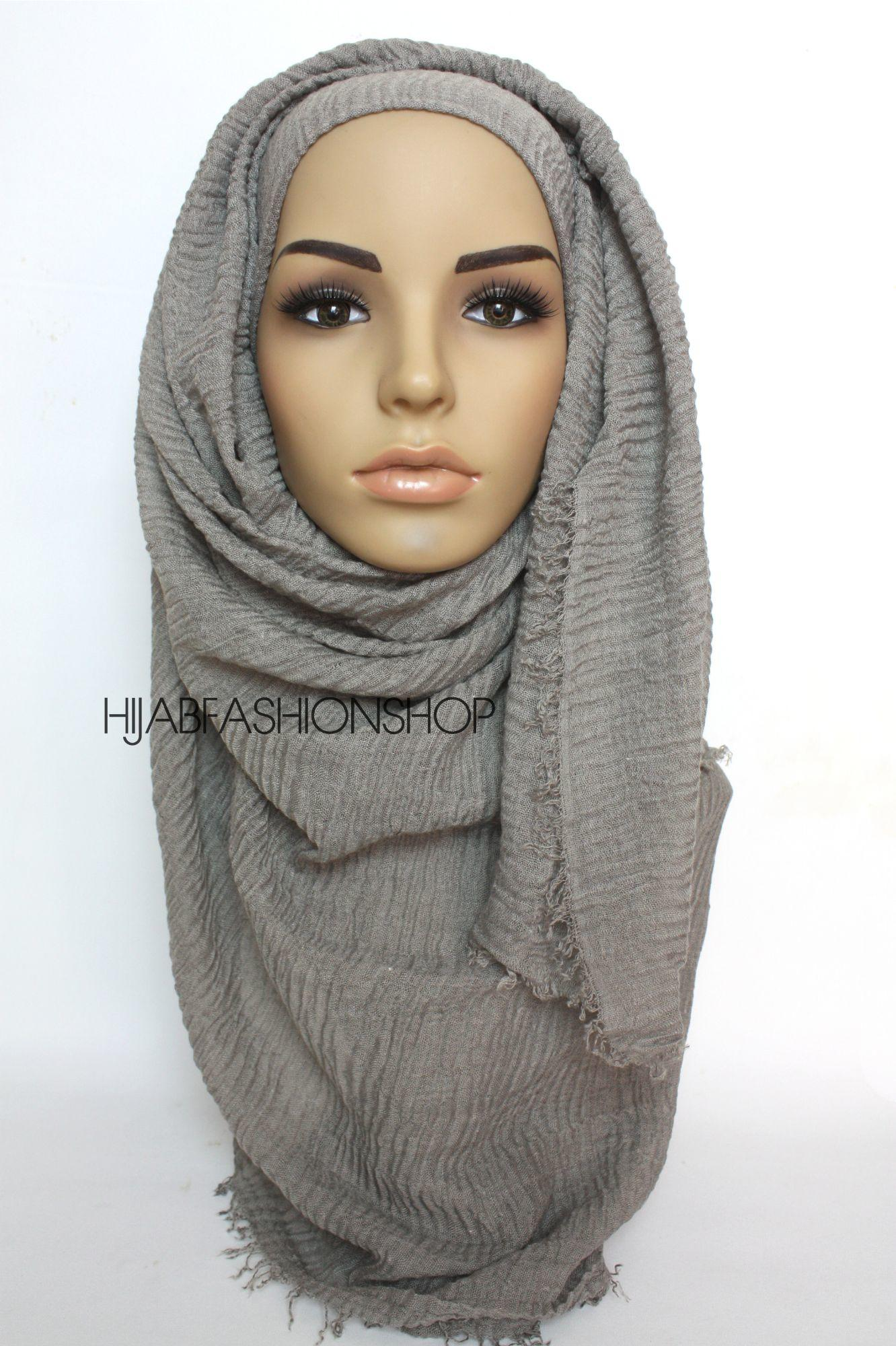 dusky grey crimp crinkle hijab