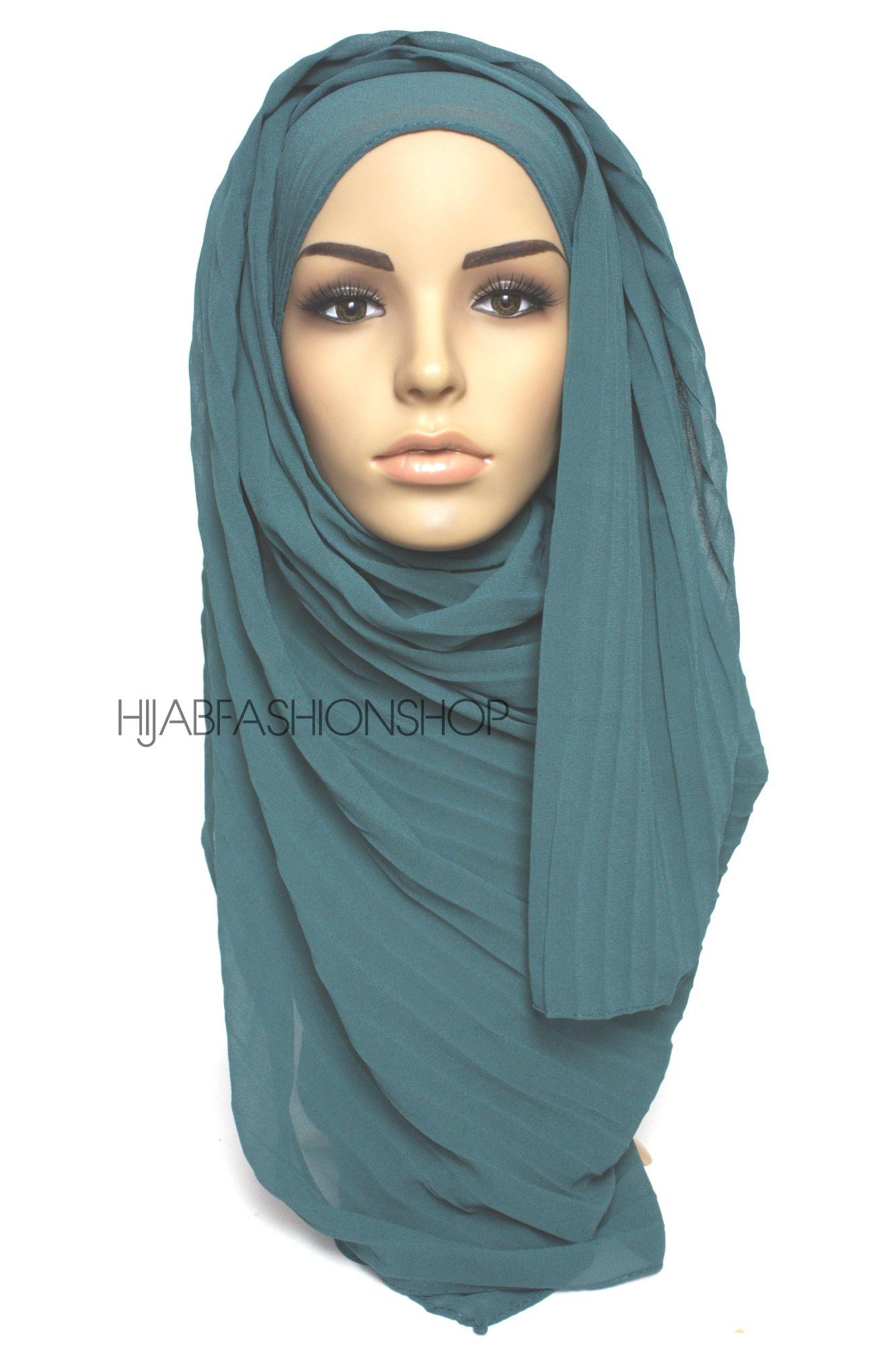 teal pleated crepe chiffon hijab
